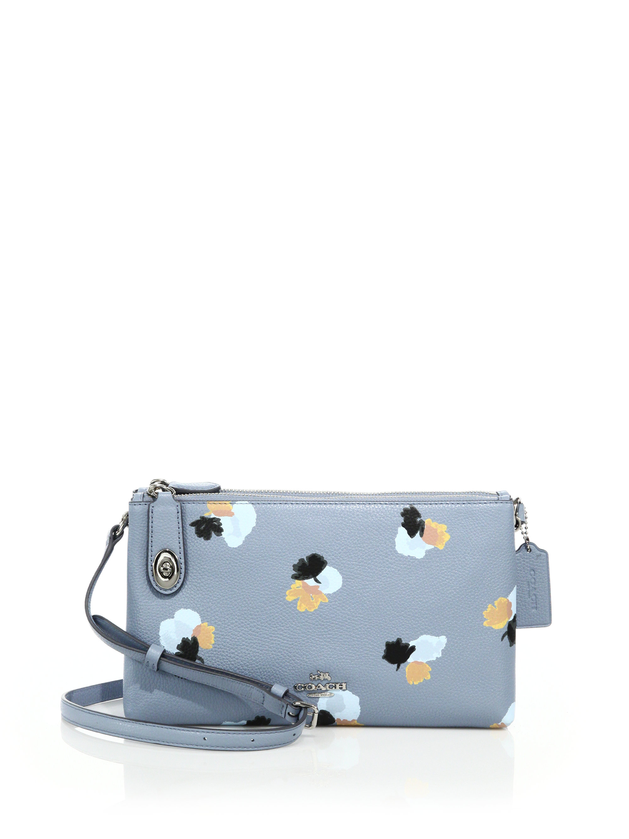 Lyst - Coach Crosby Floral-print Leather Crossbody Bag In Blue