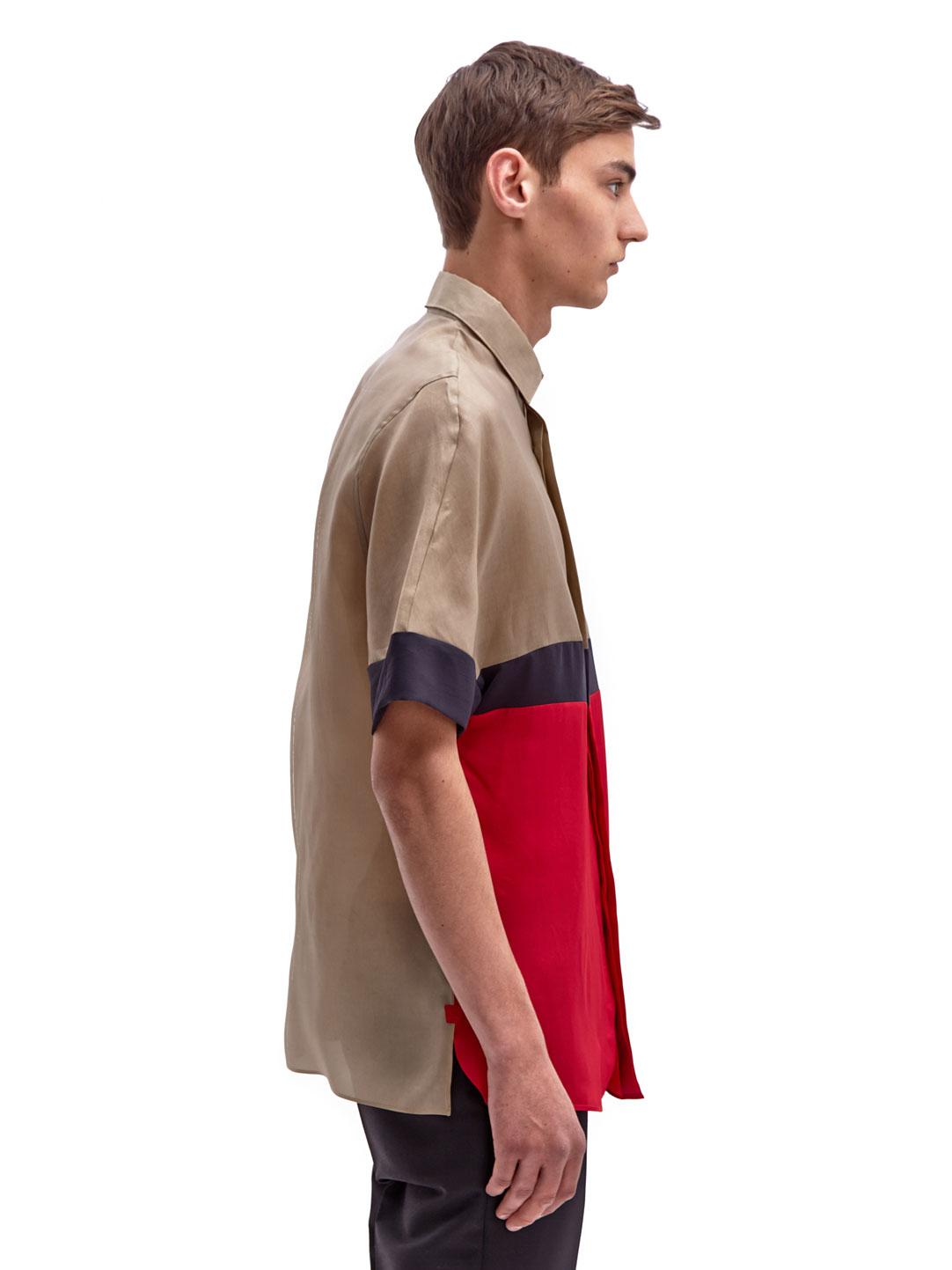 Lanvin mens colour block shirt in brown for men lyst for Mens chocolate brown dress shirt