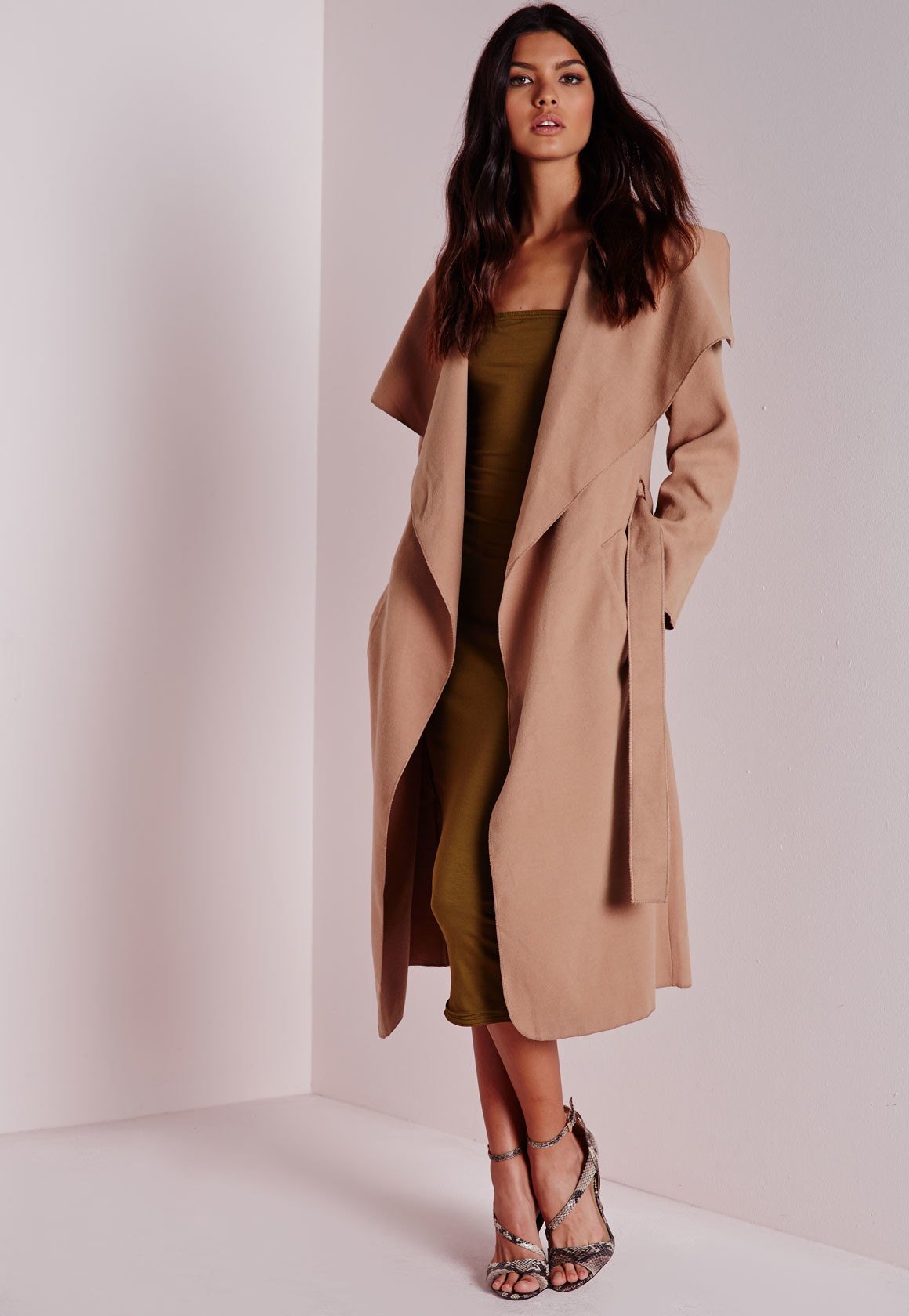 House Duster: Missguided Waterfall Long Length Coat Camel In Natural
