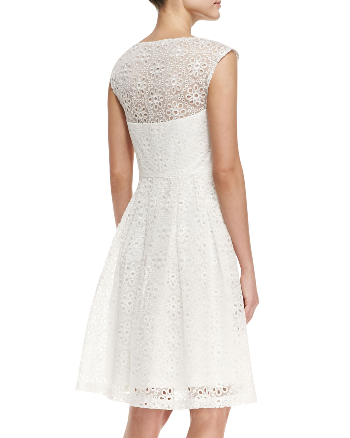 Lyst - Sue Wong Cap-sleeve Eyelet Fit-and-flare Cocktail Dress in White