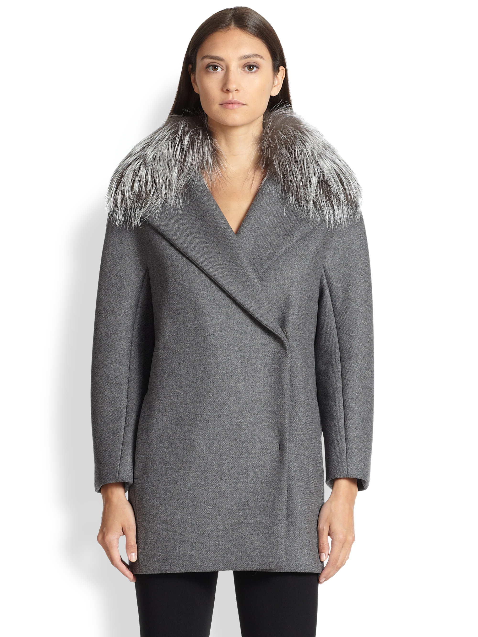 Lyst Max Mara Fur Collar Wool Amp Cashmere Coat In Gray