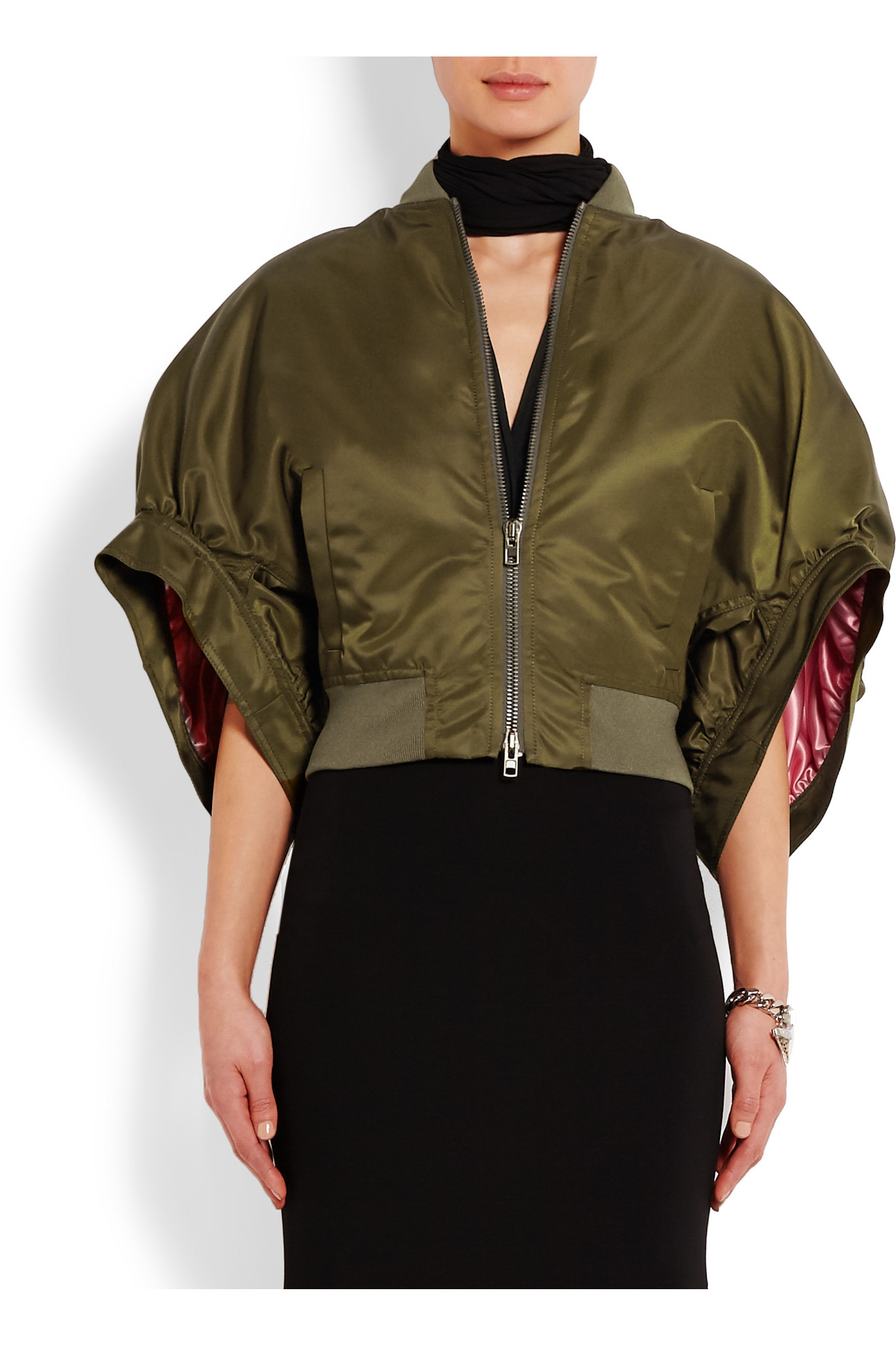 96318666e Givenchy Blue Cropped Bomber Jacket In Army-green Satin