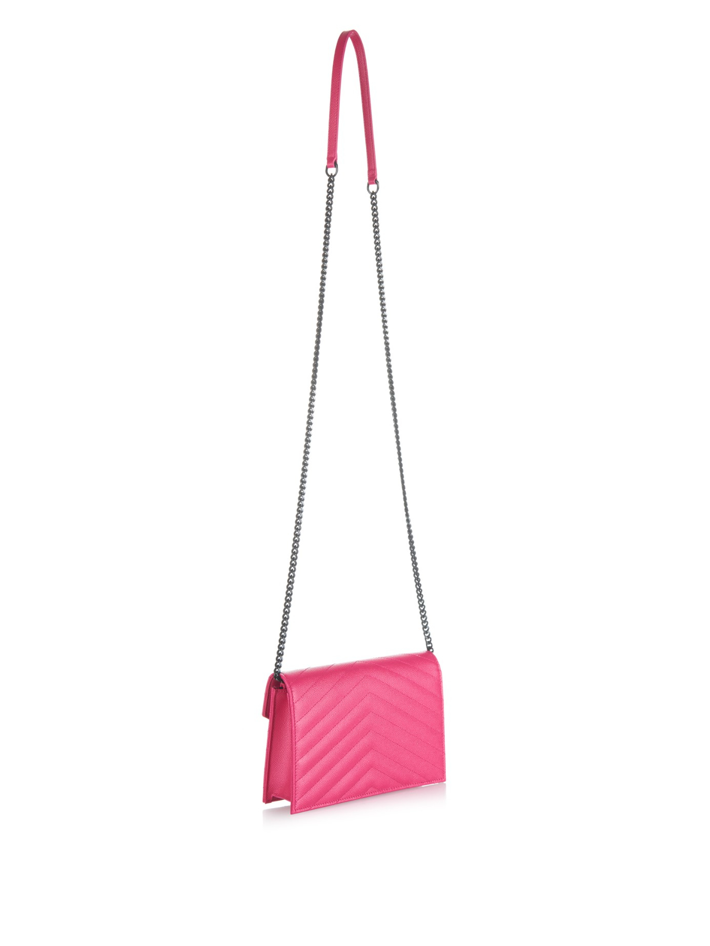 Saint Laurent Monogram Quilted Leather Cross Body Bag In