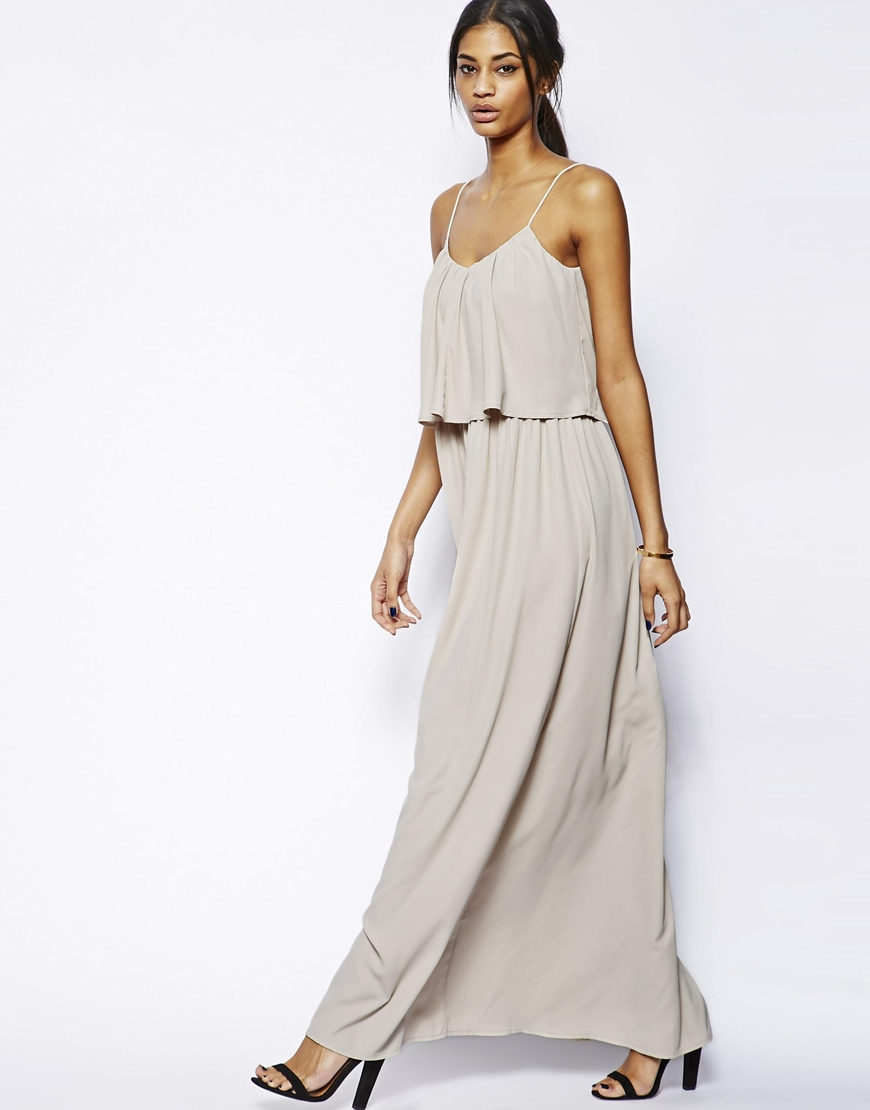 Asos Maxi Dress With Layers in Gray | Lyst