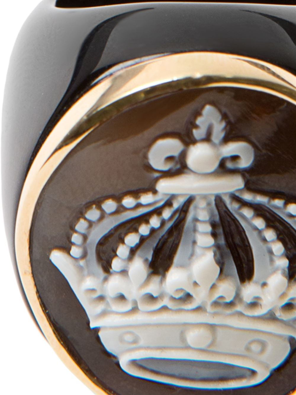 Amedeo Crown Cameo Ring in Black
