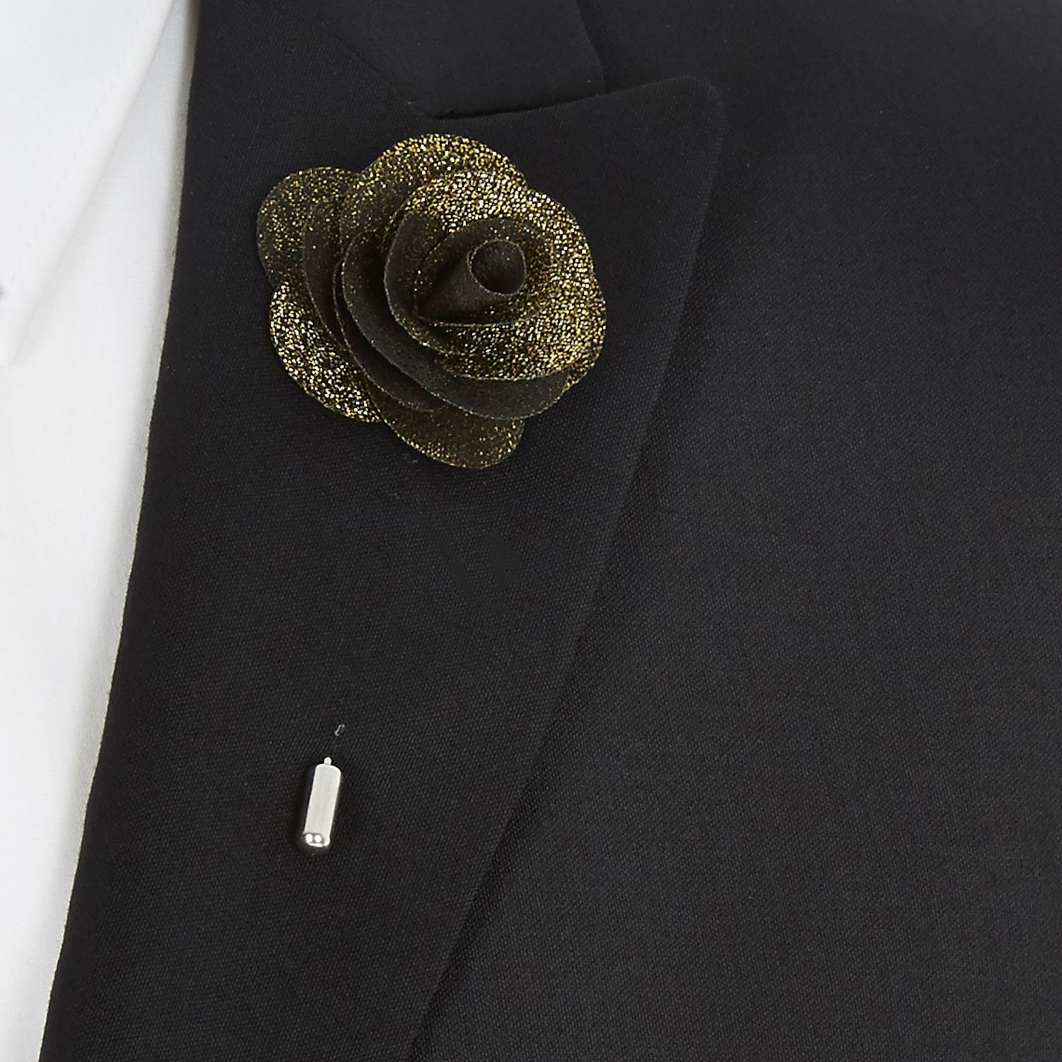 River Island Gold Texture Pattern Tie Gold Flower Lapel Pin