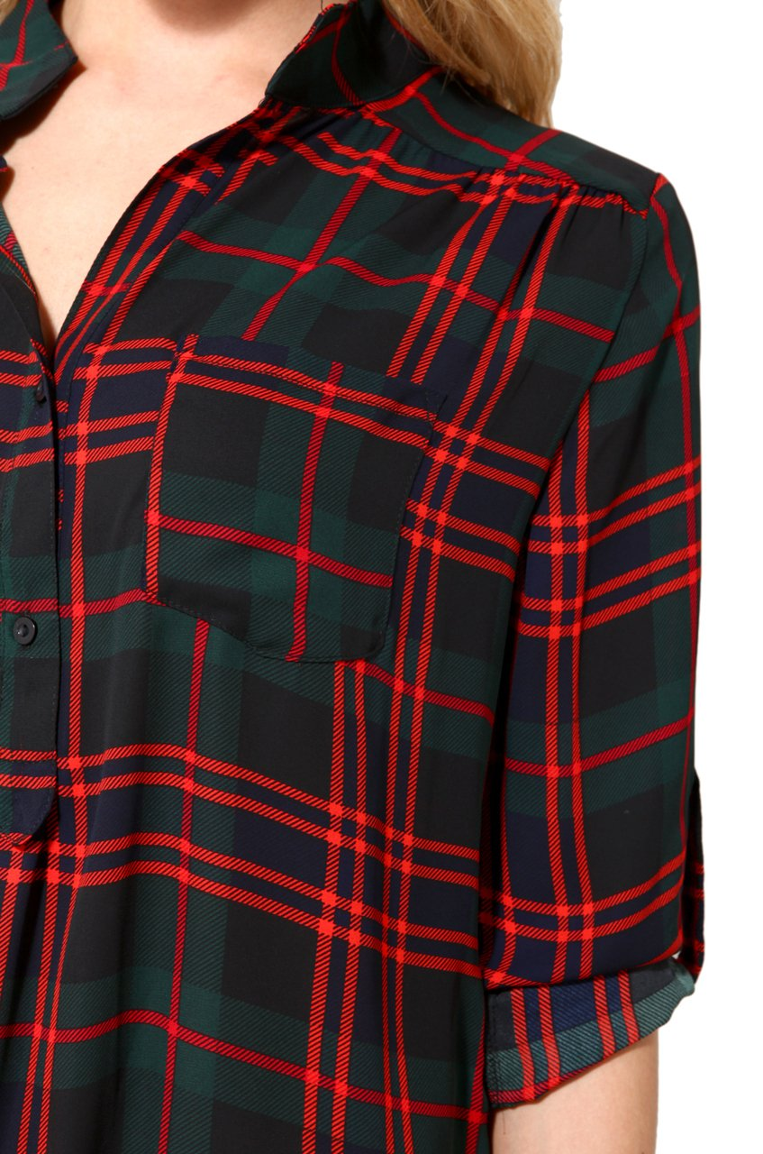 lyst akira sheer plaid tunic top in red
