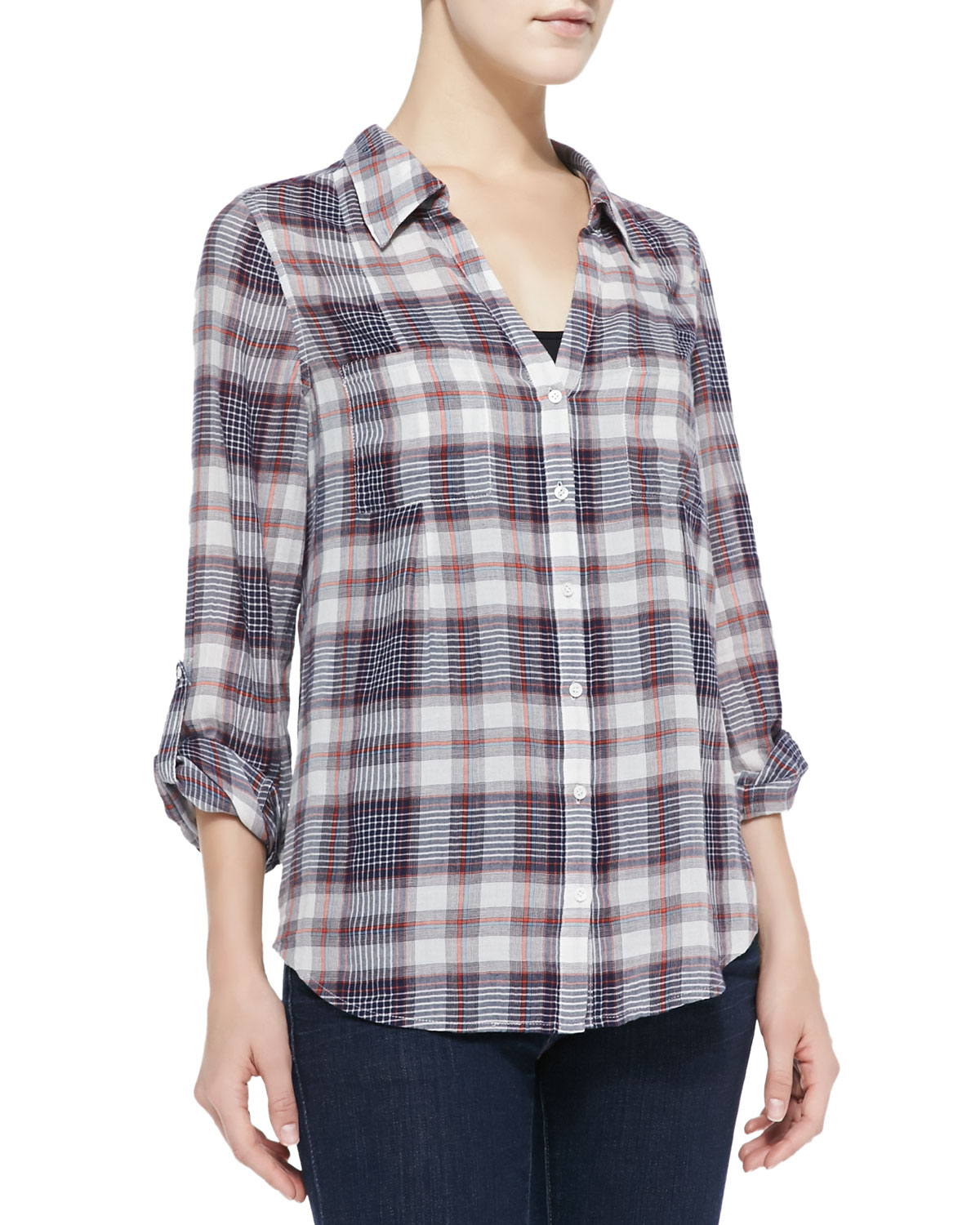 joie cartel loose plaid cotton blouse in multicolor dark navy lyst. Black Bedroom Furniture Sets. Home Design Ideas