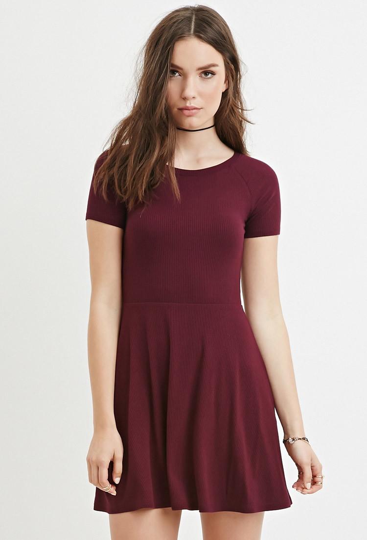 Forever 21 Micro-ribbed Skater Dress in Purple (PLUM) | Lyst