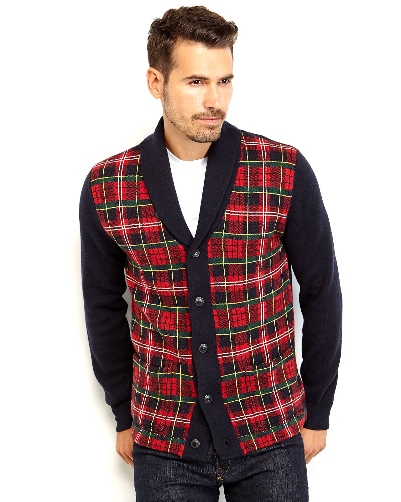 Grayers Tartan Plaid Cardigan in Red for Men | Lyst