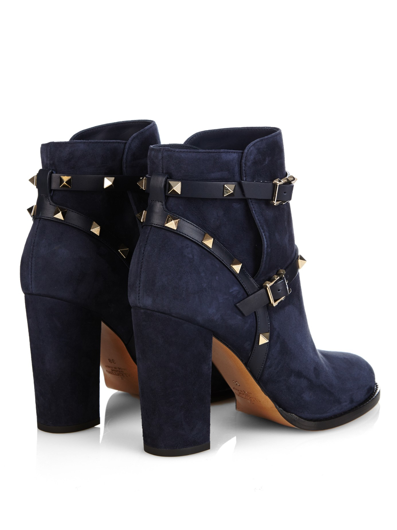 Valentino Rockstud Suede Ankle Boots in Blue | Lyst