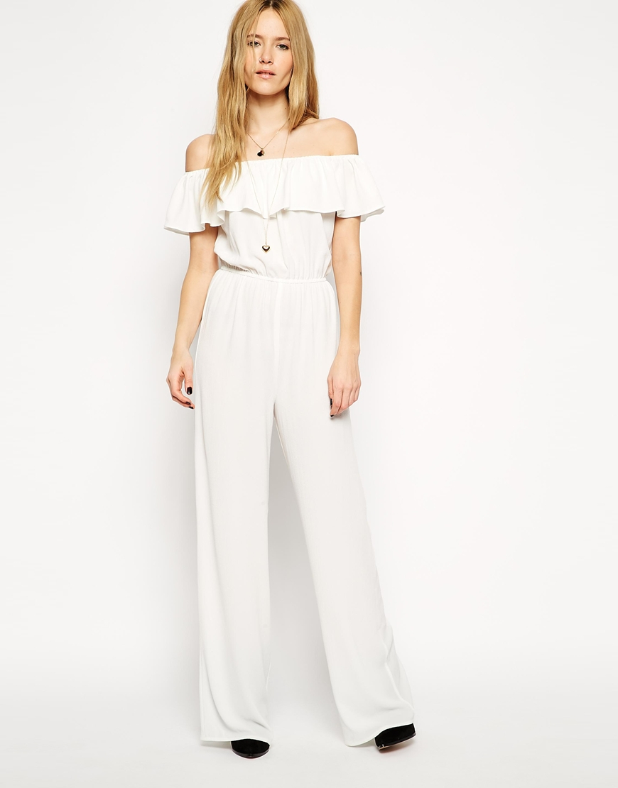 3e7504cbcc4 Lyst - ASOS Jumpsuit With Off Shoulder Ruffle in White