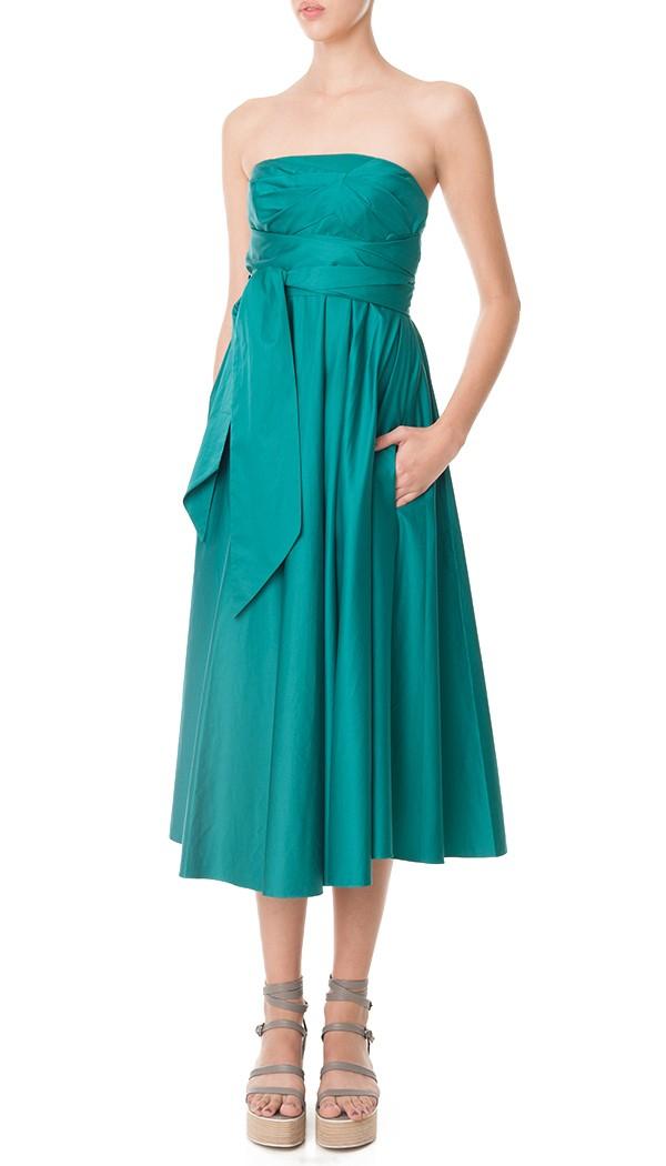 Tibi Satin Poplin Strapless Wrap Dress In Green Lyst