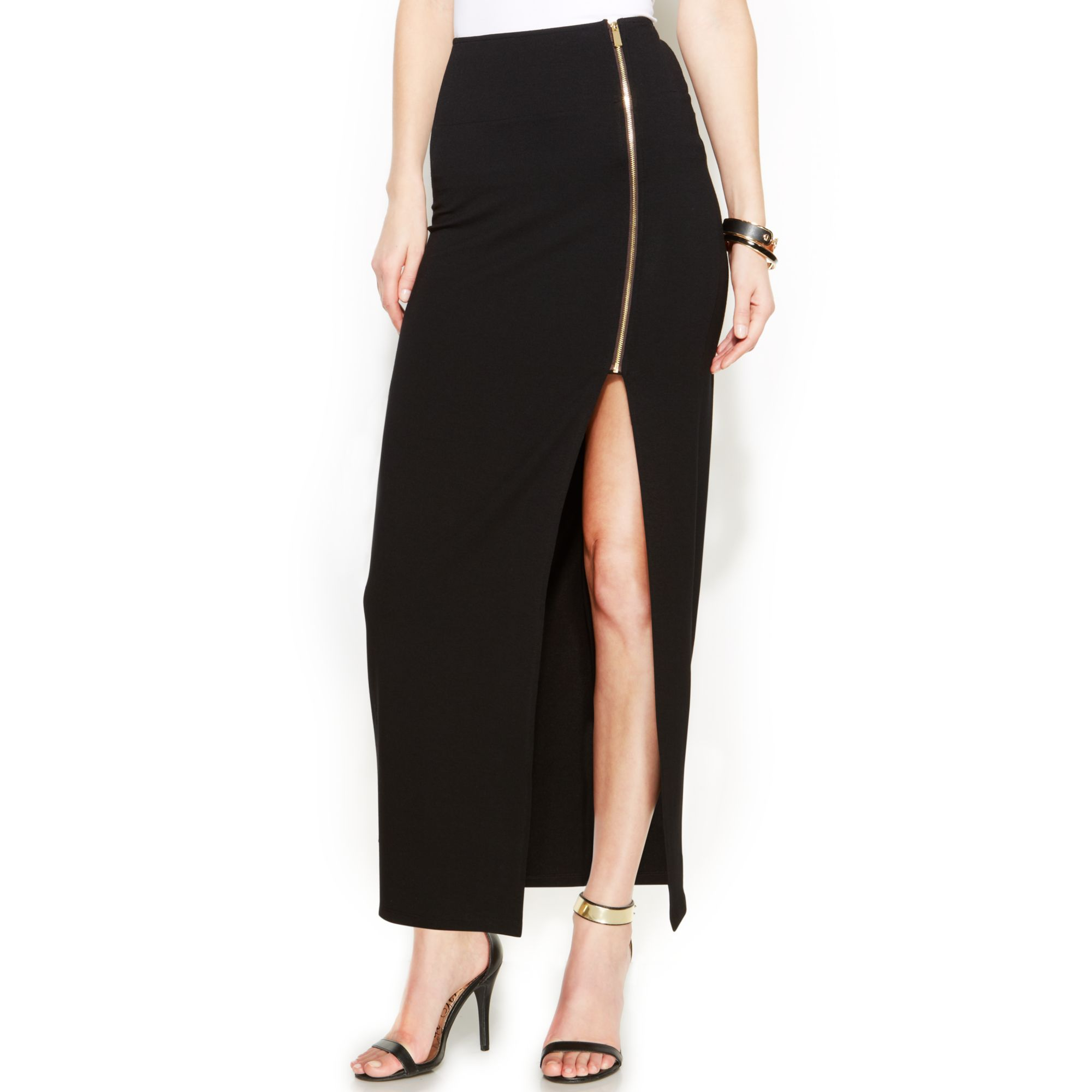 Lyst Vince Camuto Side Slit Zip Maxi Skirt In Black
