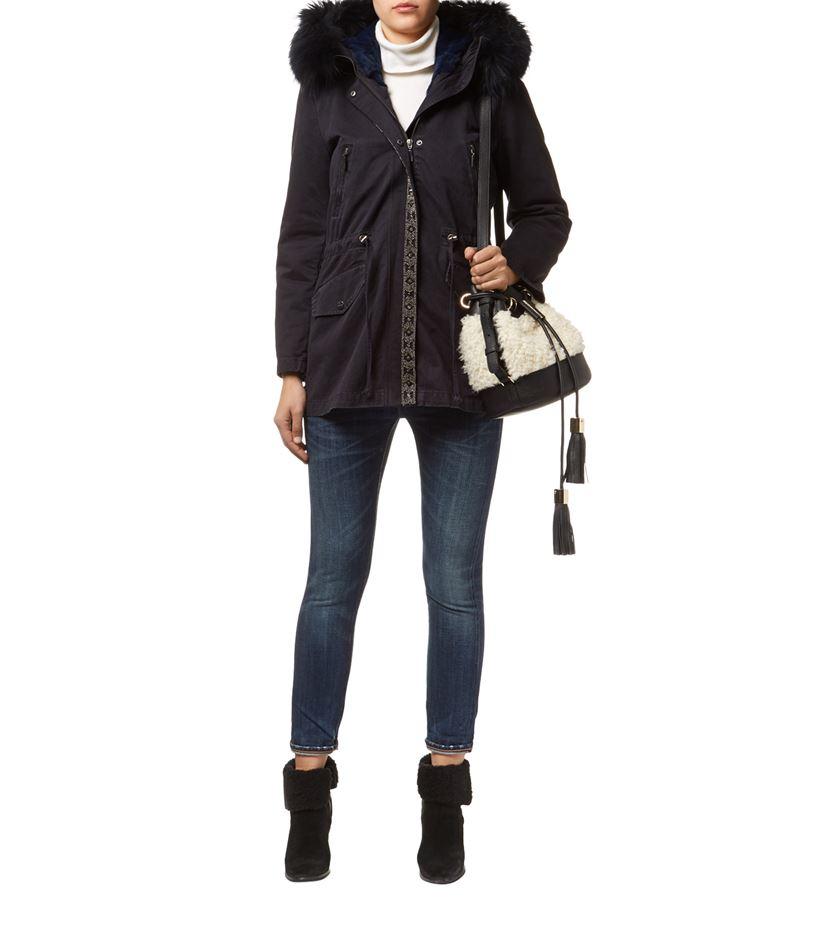 Max & Moi Fur Lined Embellished Parka in Black