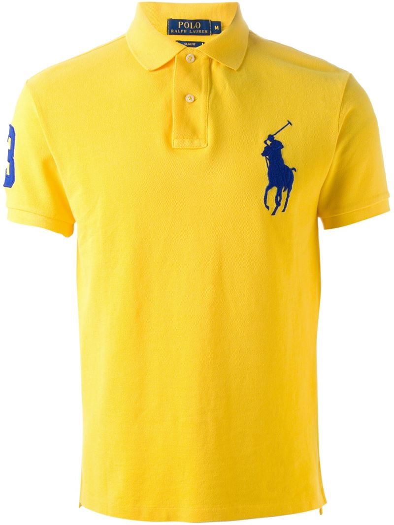 Lyst polo ralph lauren embroidered logo polo shirt in for Polo shirts with logos