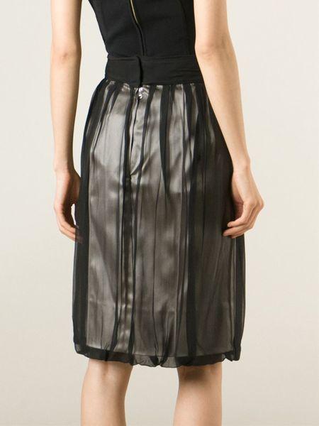 dolce gabbana pleated sheer skirt in black lyst