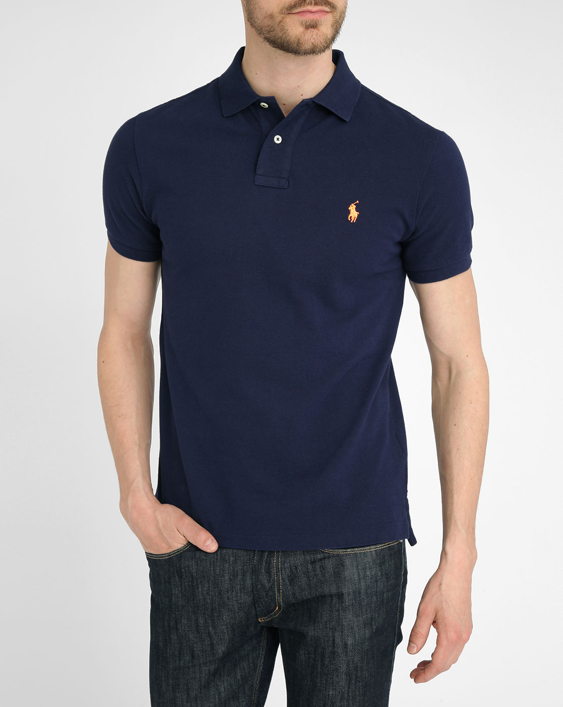 Polo Ralph Lauren Navy French Slim Fit Polo Shirt In Blue
