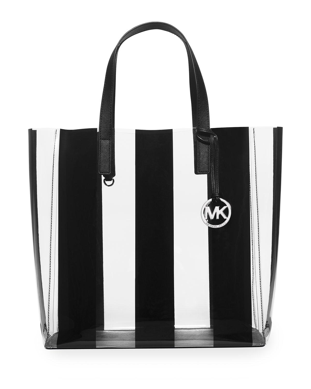 56e71f4e75ad MICHAEL Michael Kors Eliza Large Striped Plastic Tote Bag in Black ...