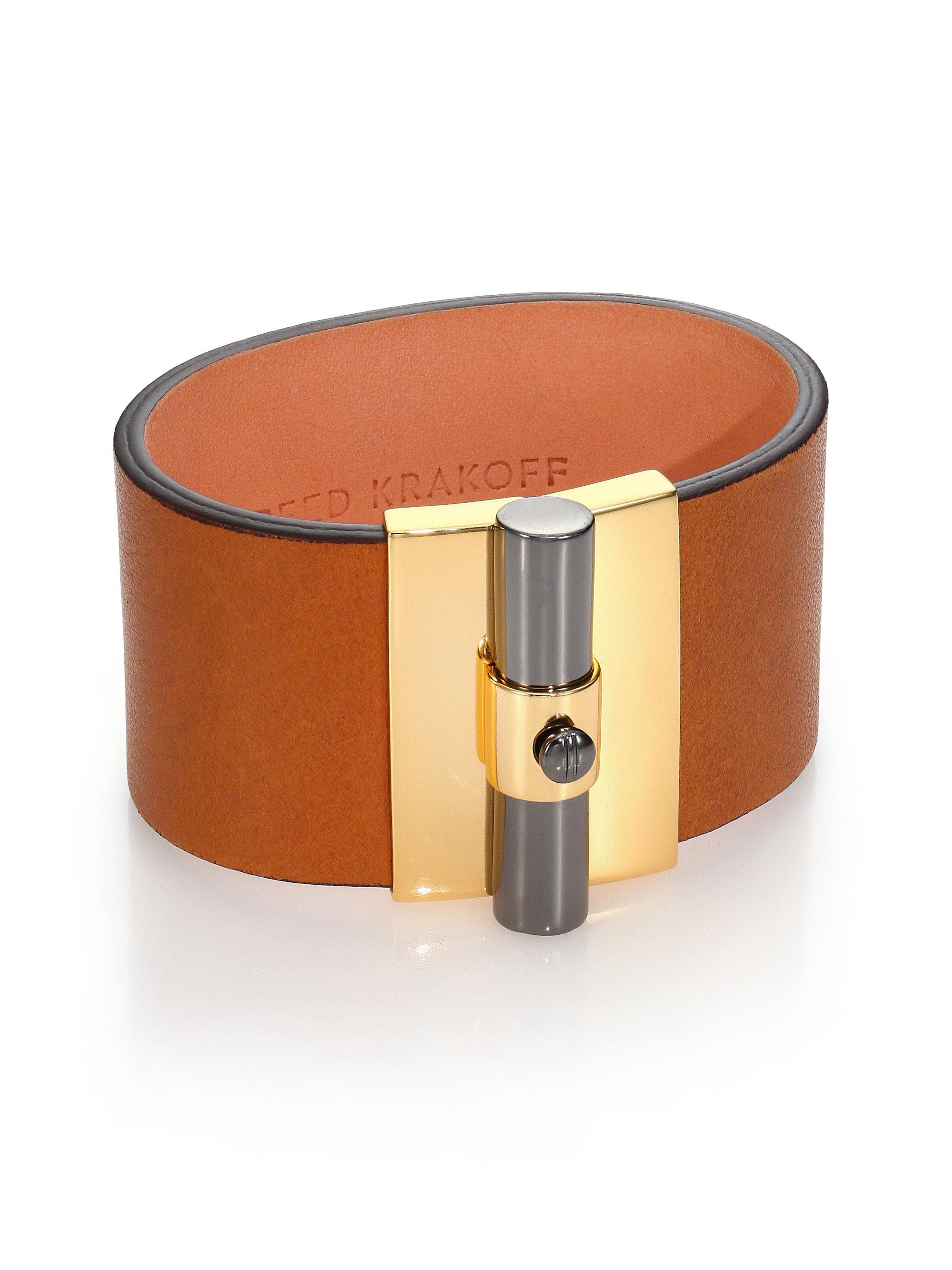 Reed krakoff T-Bar Leather Cuff Bracelet in Metallic