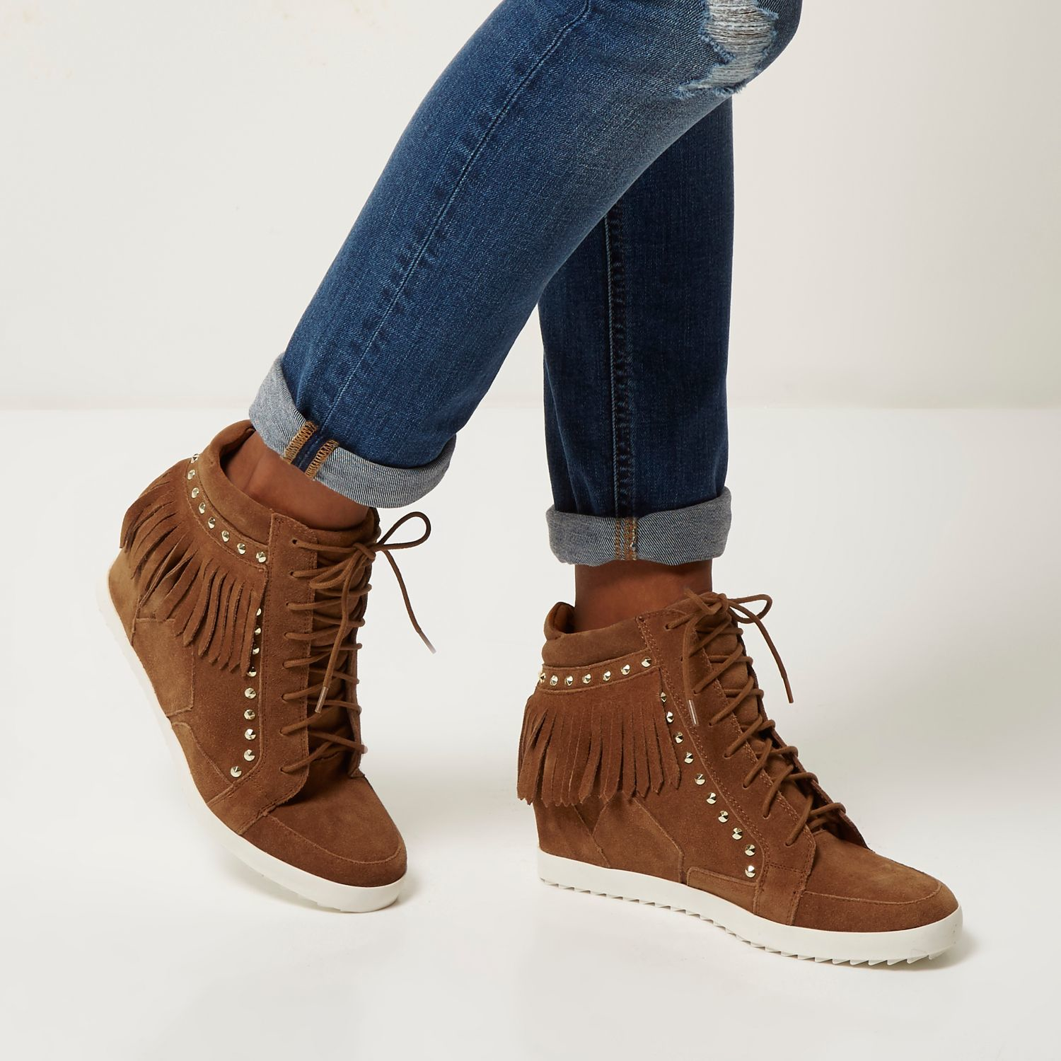 River Island Tan Suede Fringed High Top