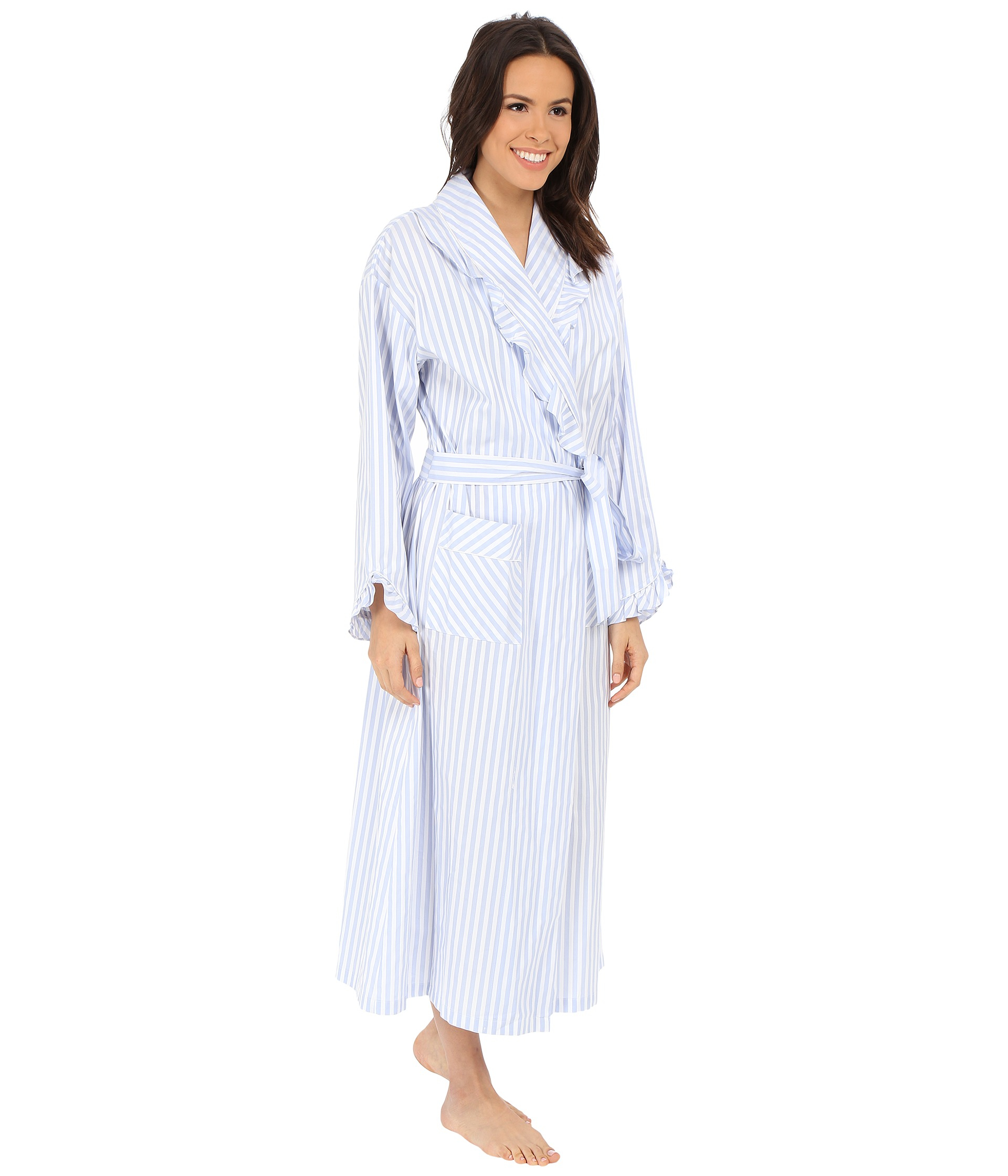 3c050b59cc Lyst - Eileen West Stripe Robe in Blue
