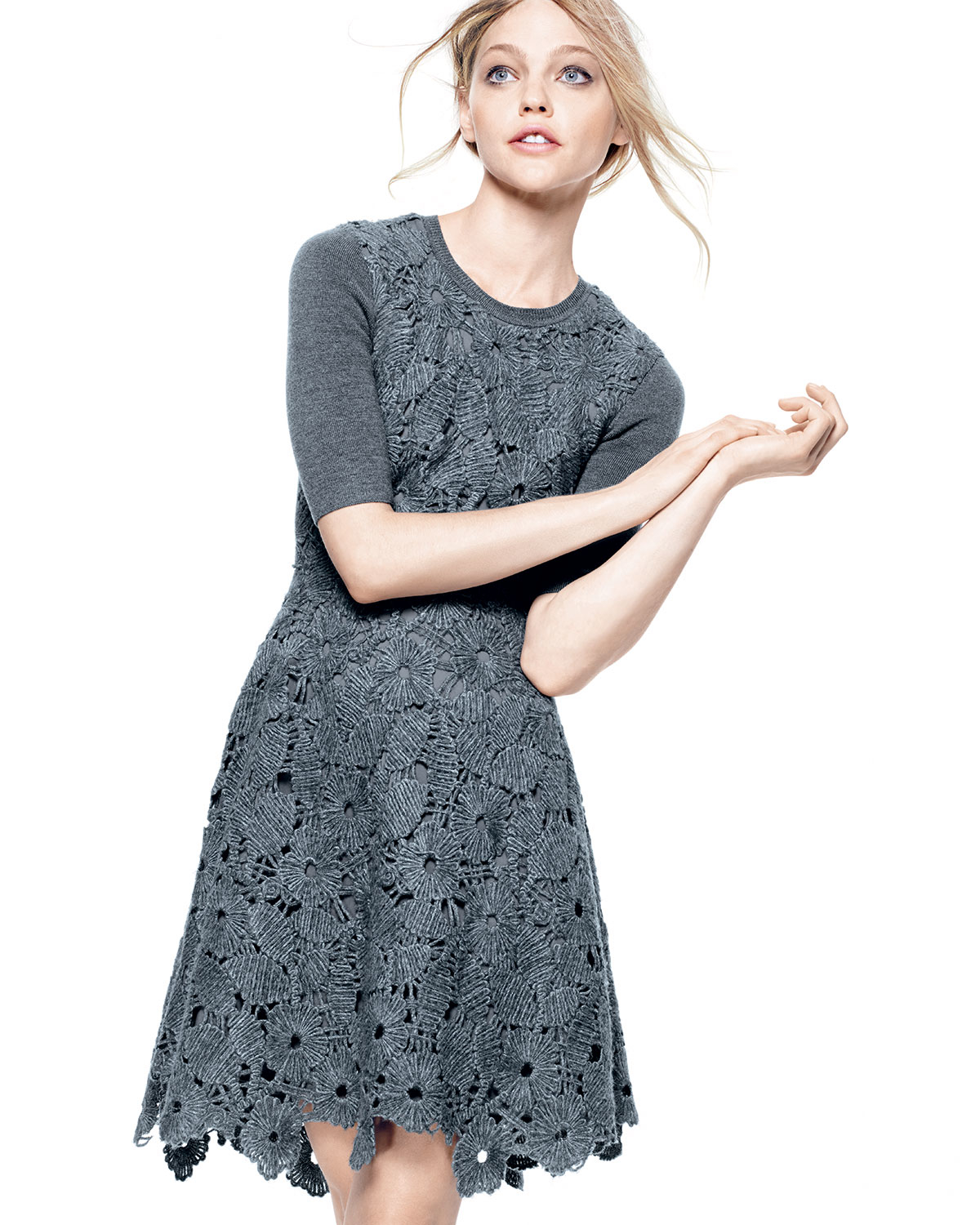 Lela rose Half-sleeve Floral-lace Combo Dress in Gray | Lyst