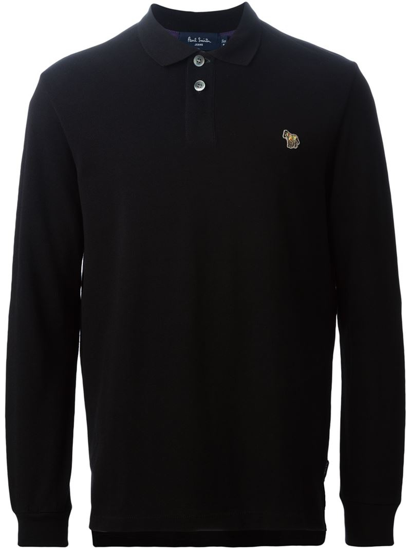 Lyst paul smith long sleeved cotton polo shirt in black for Black cotton polo shirt