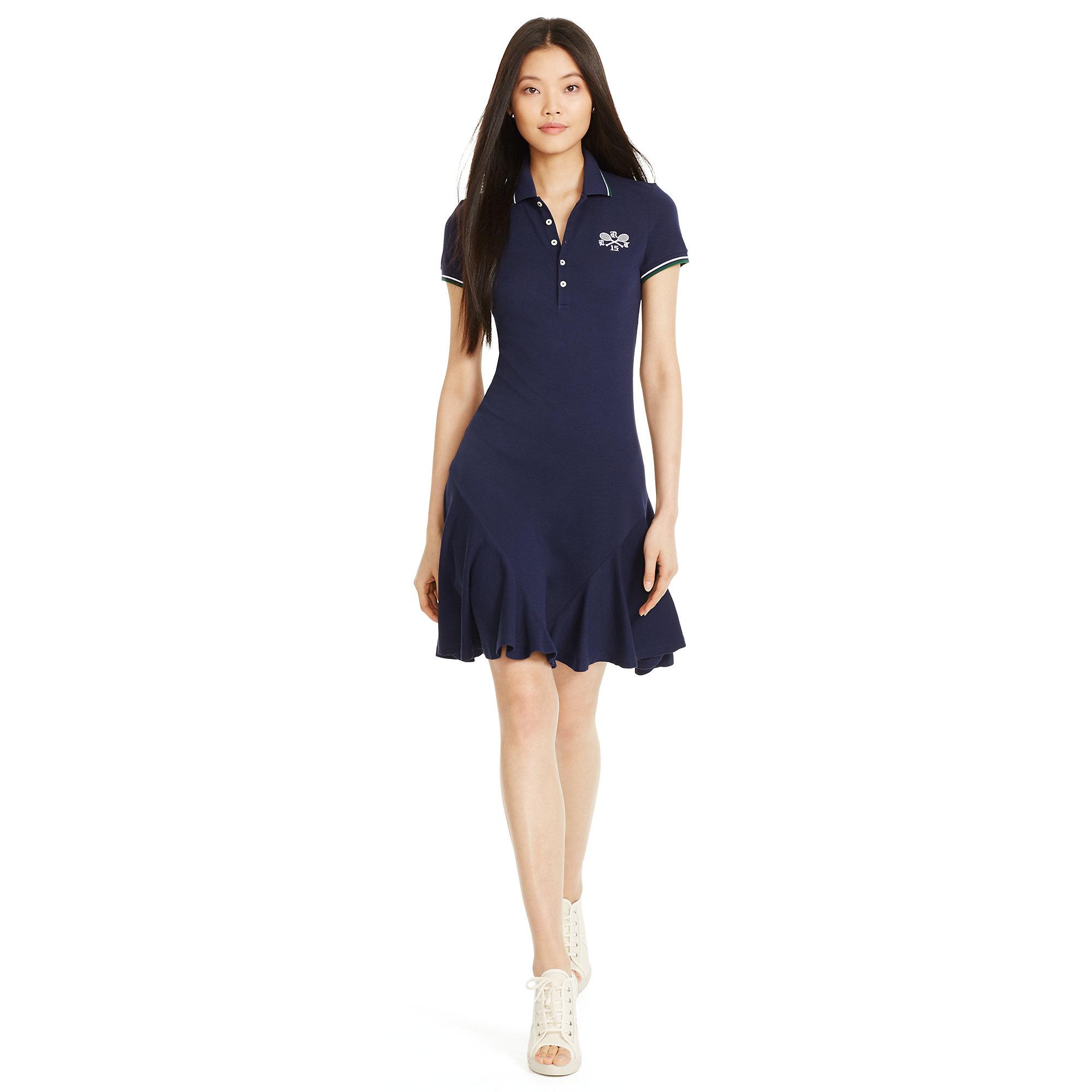 4d0551afb593b Lyst - Polo Ralph Lauren Wimbledon Piqué Mesh Dress in Blue
