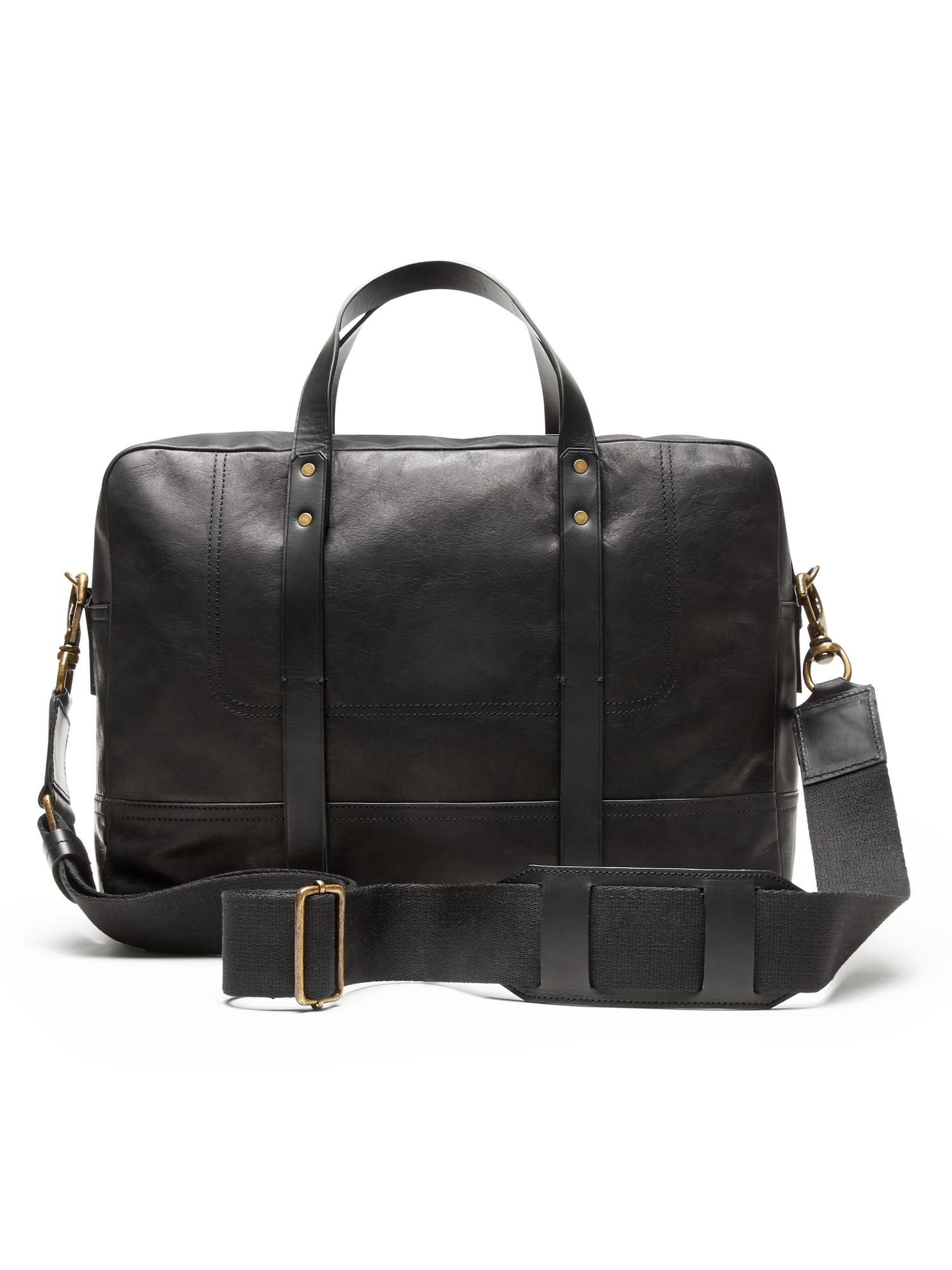 Banana republic Italian Leather Briefcase in Black for Men | Lyst