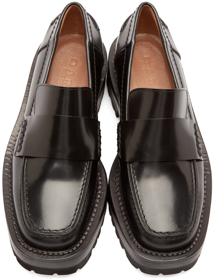 Marni Black Leather Platform Loafers - Lyst