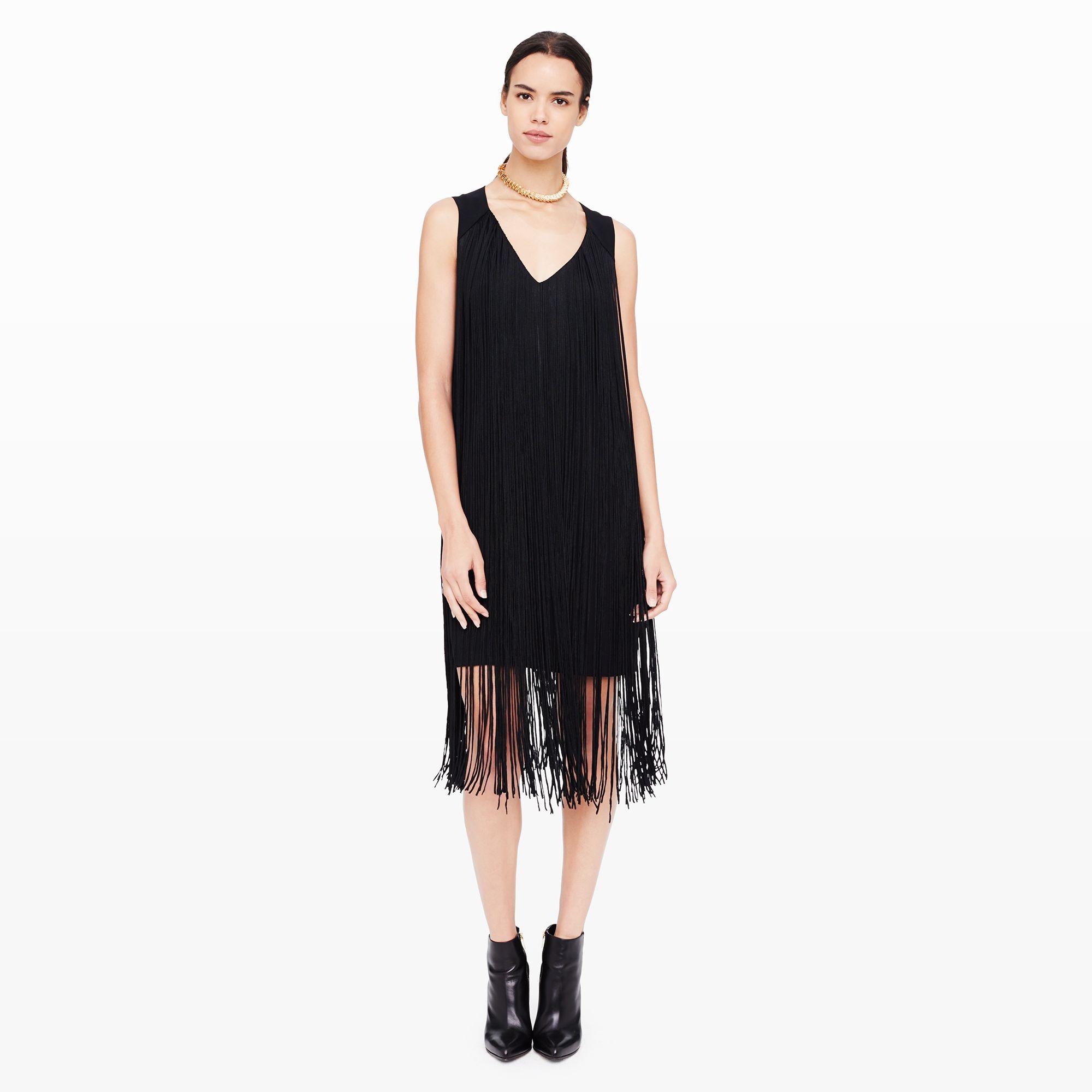 lyst  club monaco suzanne fringe dress in black