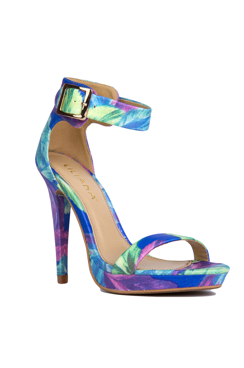 Akira Blue Floral Print Ankle Strap Heels in Blue | Lyst