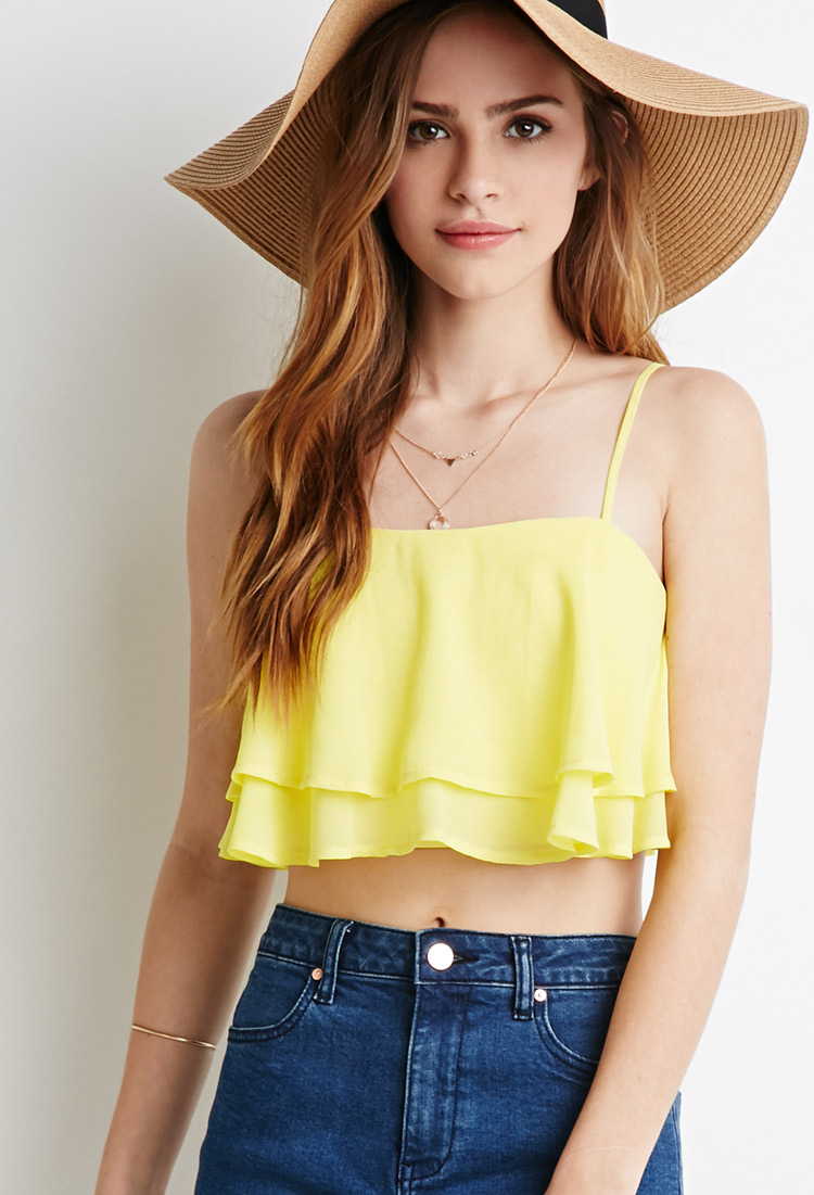 b3bcc9e78bcd1 Lyst - Forever 21 Layered Cami Crop Top in Yellow