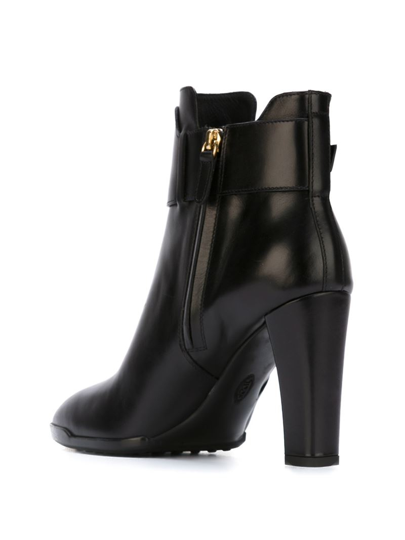 tod s buckle detail ankle boots in black lyst