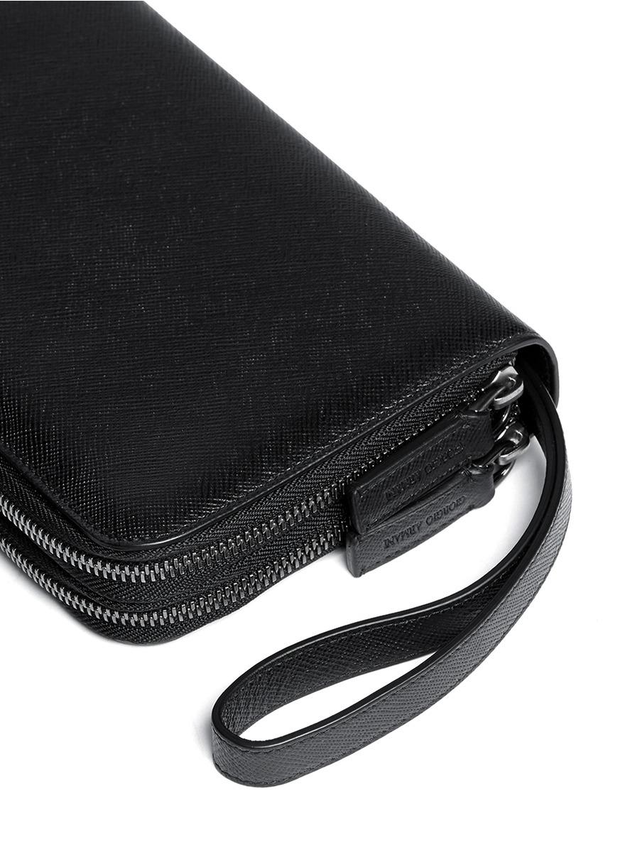 Giorgio Armani Double Zip Saffiano Leather Passport Wallet