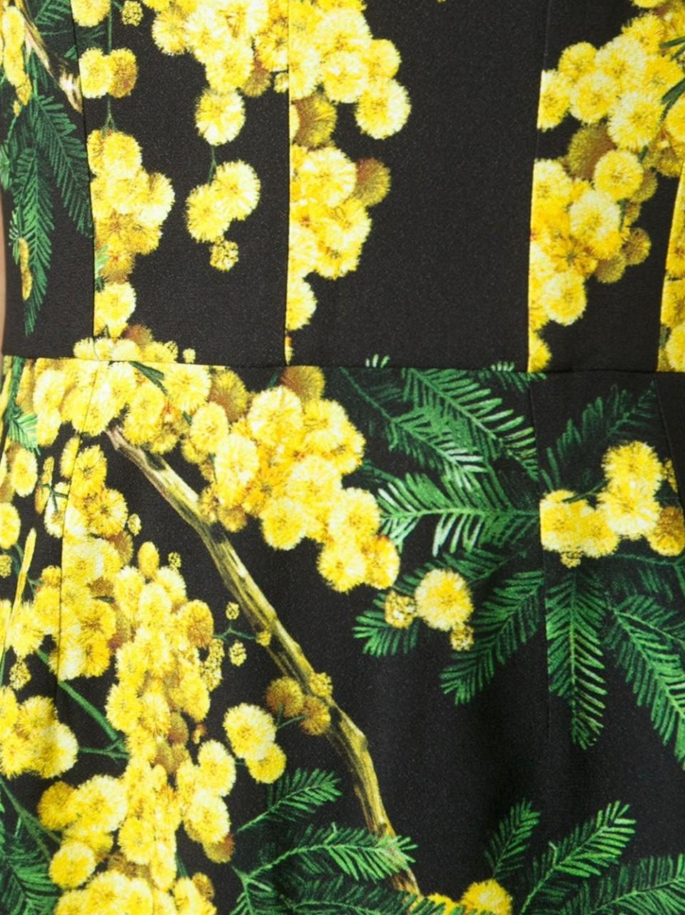 Dolce Amp Gabbana Acacia Print Dress In Yellow Lyst