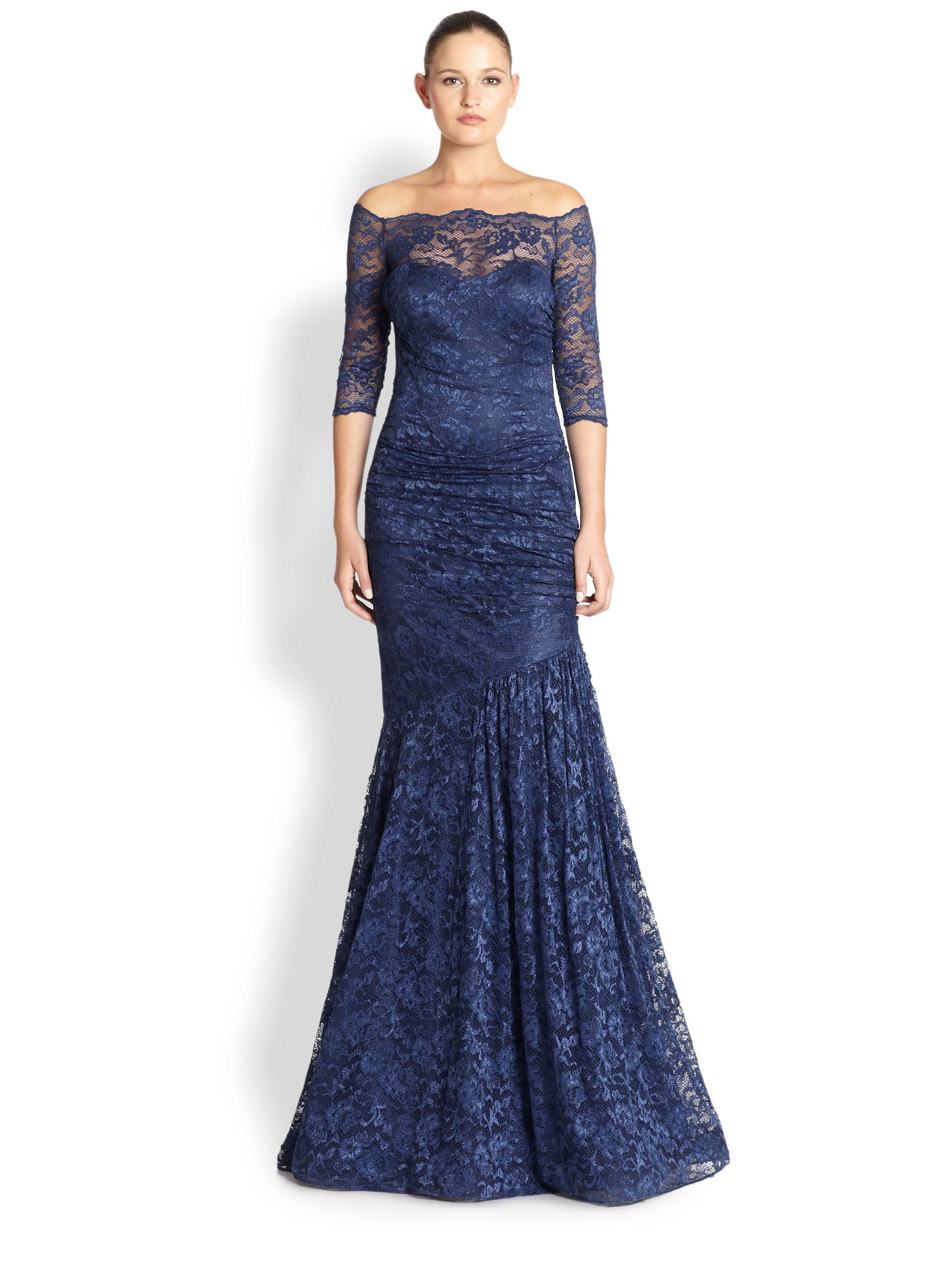 Lyst - Teri Jon Lace Off-Shoulder Gown in Blue