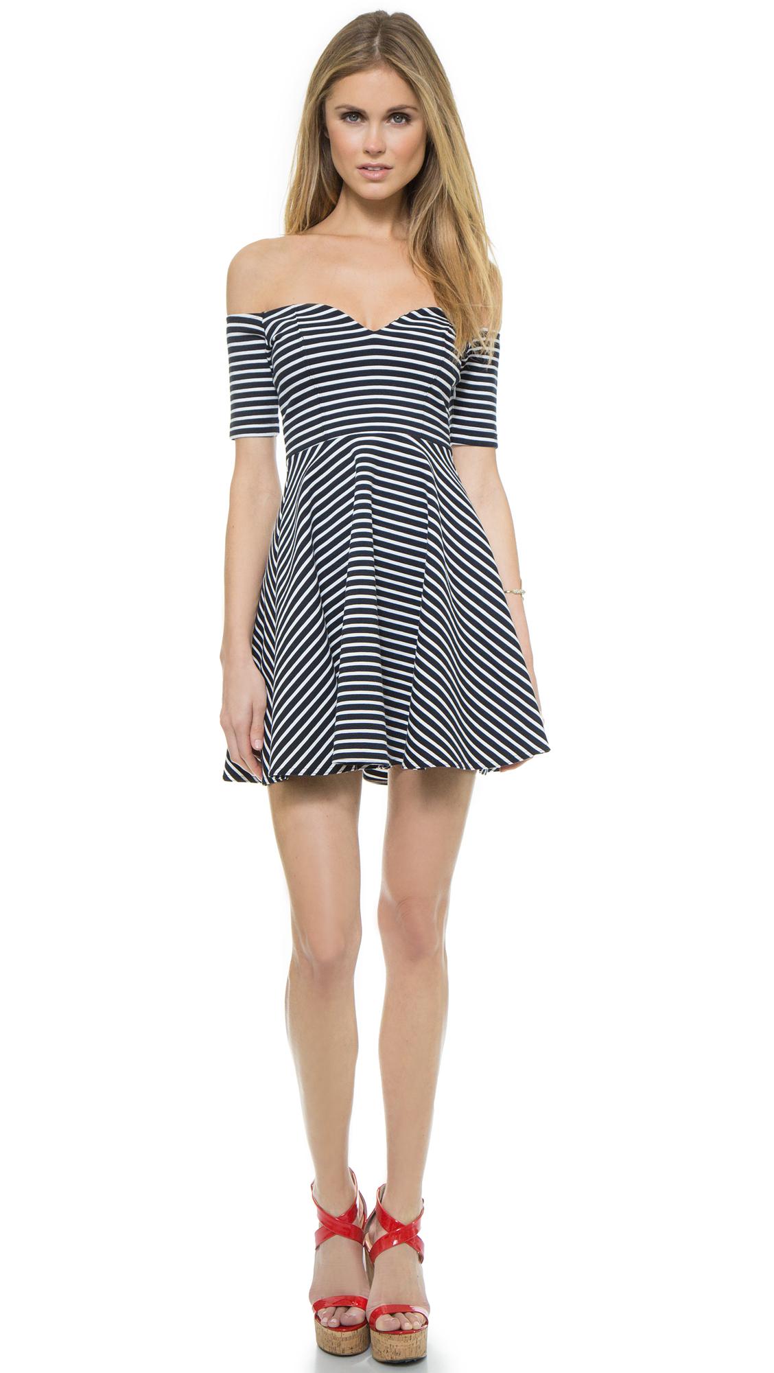 Lyst - RED Valentino Off Shoulder Stripe Dress in Blue 68b28ab3b
