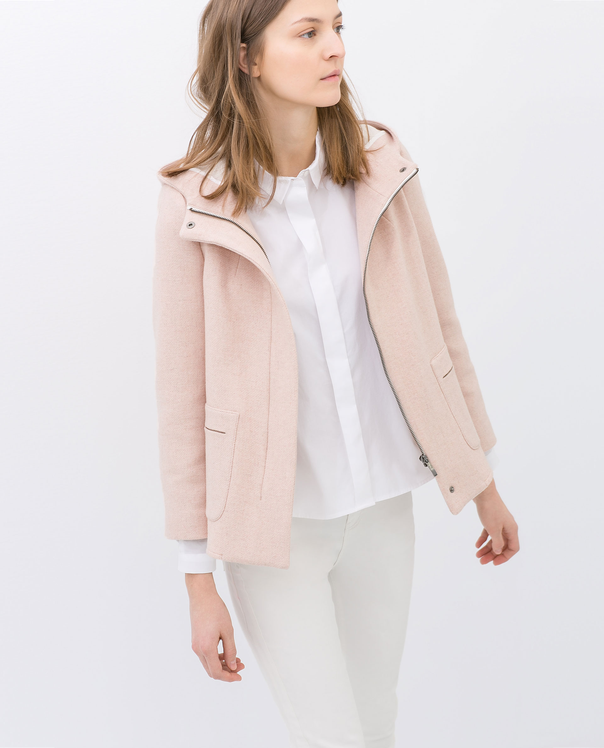 Zara Short Wool Jacket with Hood in Pink | Lyst