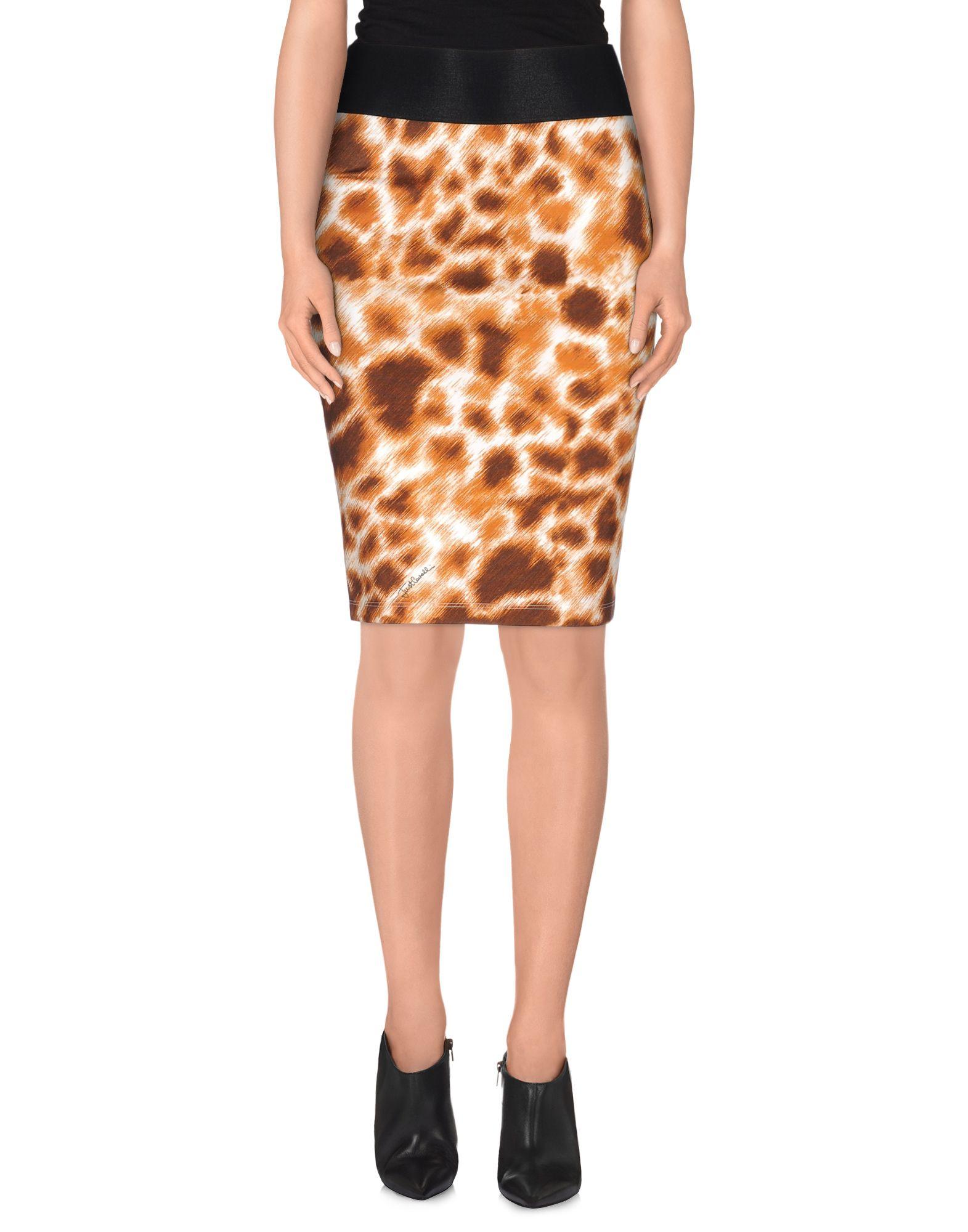 just cavalli knee length skirt in brown lyst