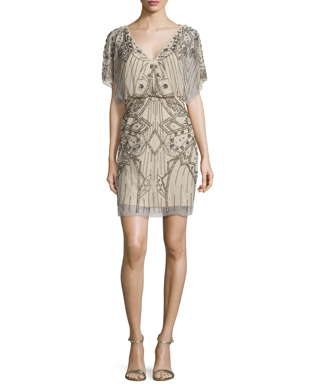 Aidan Mattox Short Sleeve Sequined Amp Beaded Blouson Dress