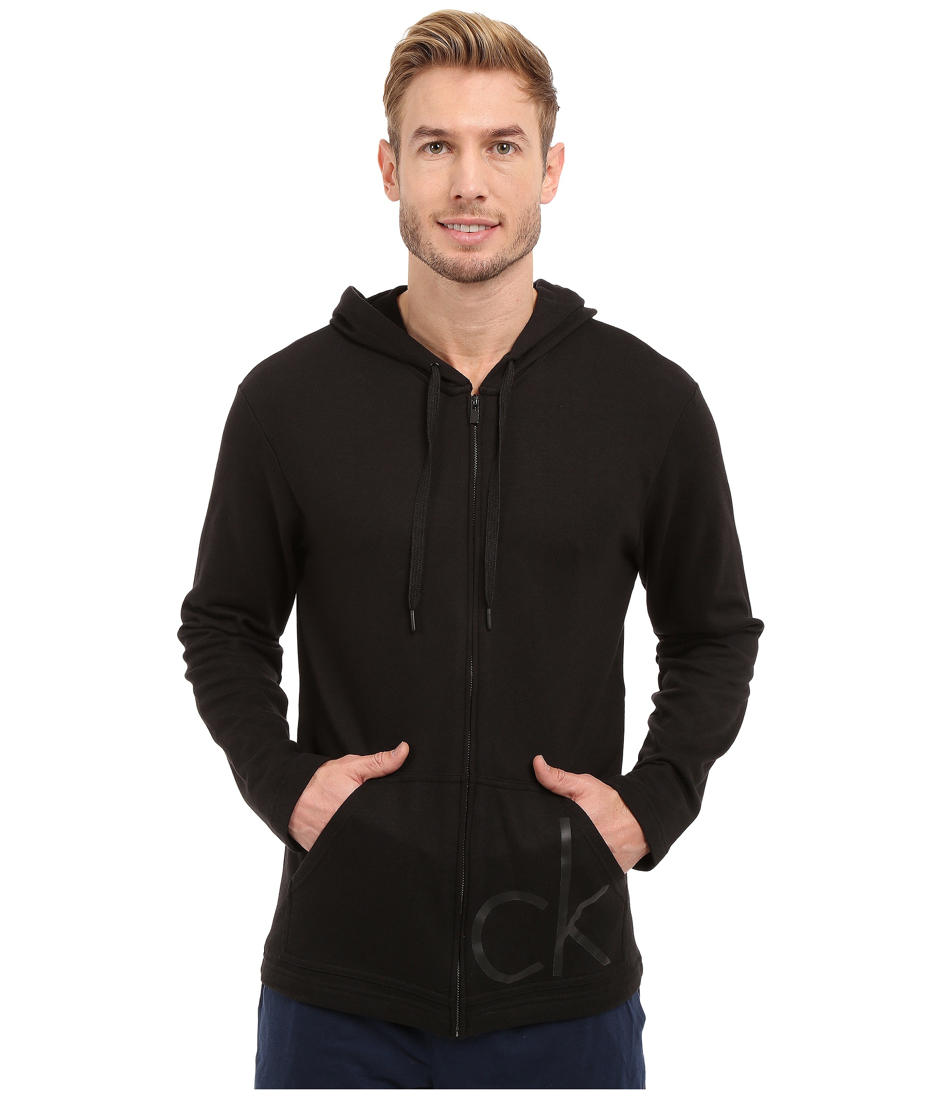 calvin klein ck one french terry full zip hoodie in black for men lyst. Black Bedroom Furniture Sets. Home Design Ideas