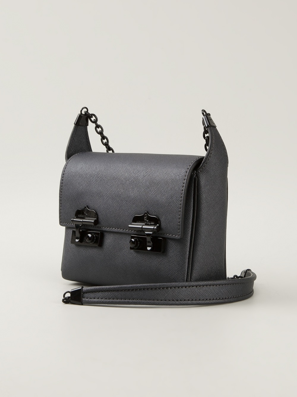 Mcq Double Clasp Shoulder Bag In Grey Gray Lyst