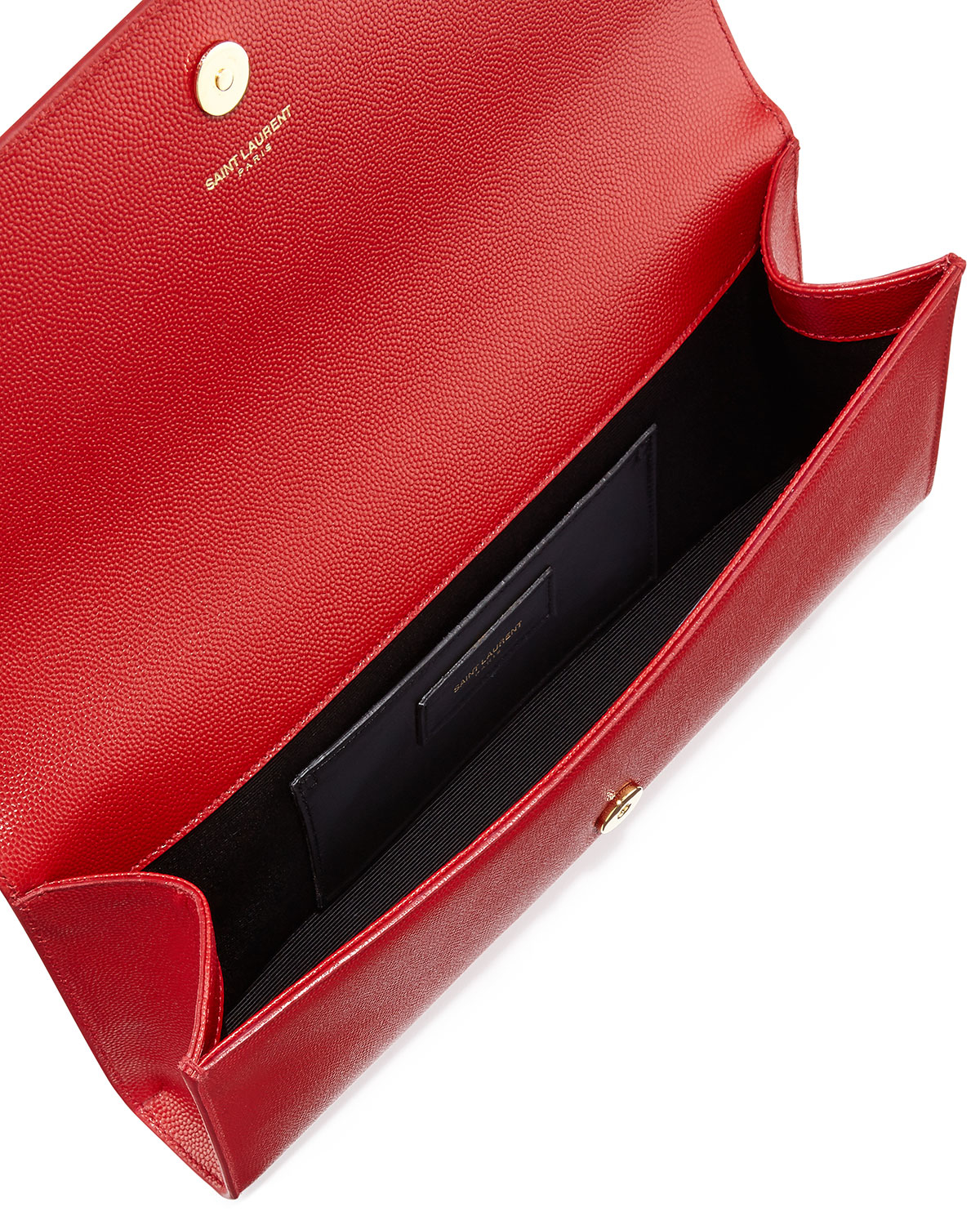 Saint Laurent Cassandre Ysl Flap Leather Clutch Bag In Red