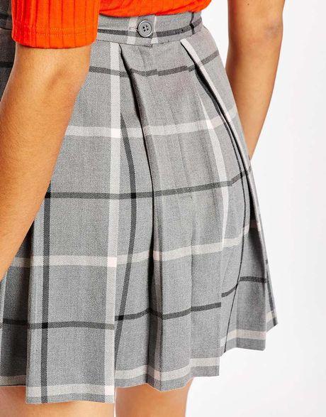 monki pleated check mini skirt in gray grey lyst
