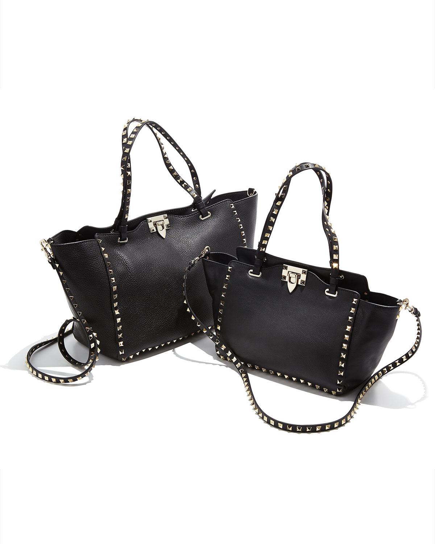 82236011fbe4 Lyst - Valentino Rockstud Mini Tote Bag in Black