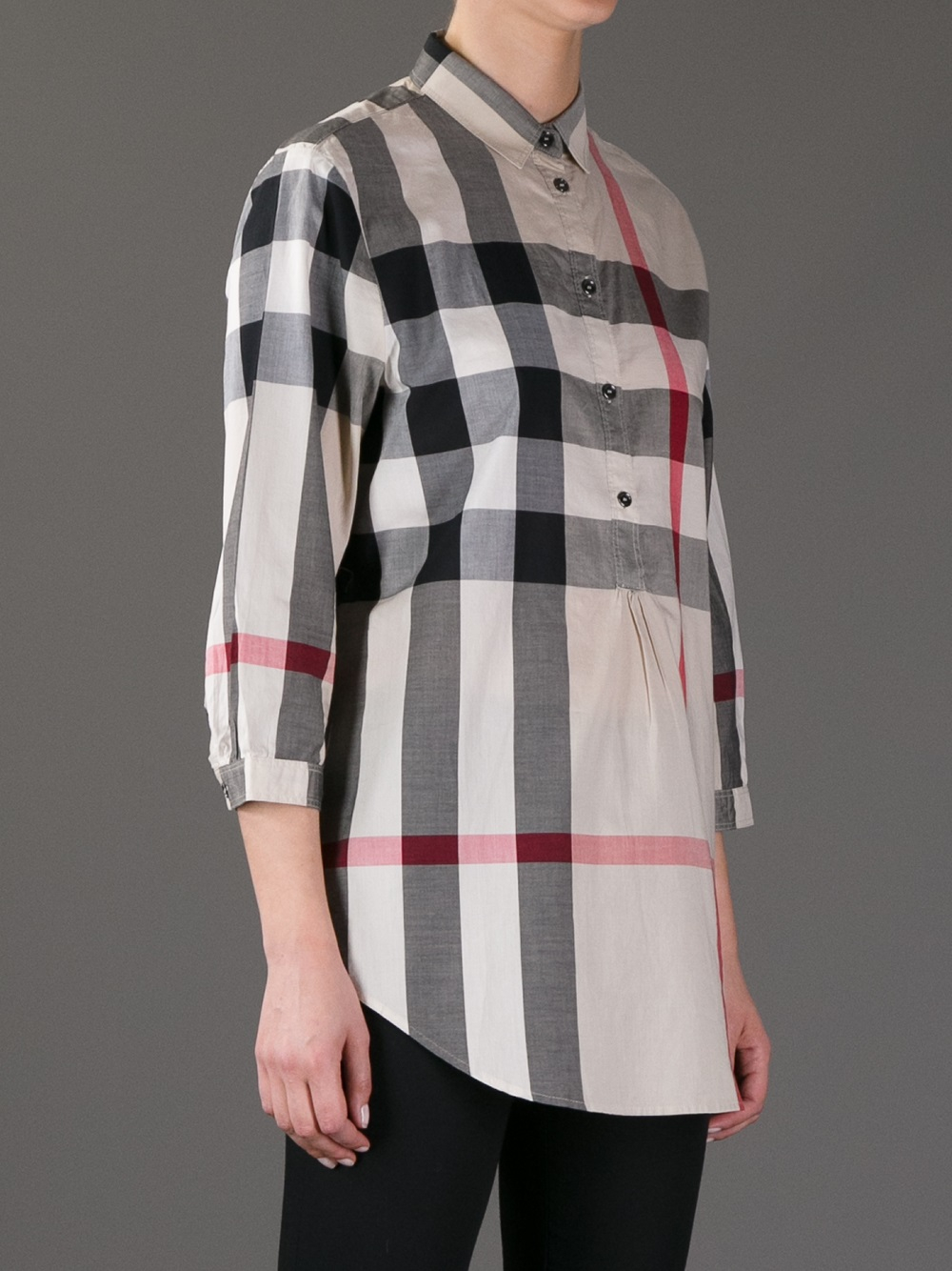 Lyst burberry brit checked print shirt in gray for Burberry brit checked shirt