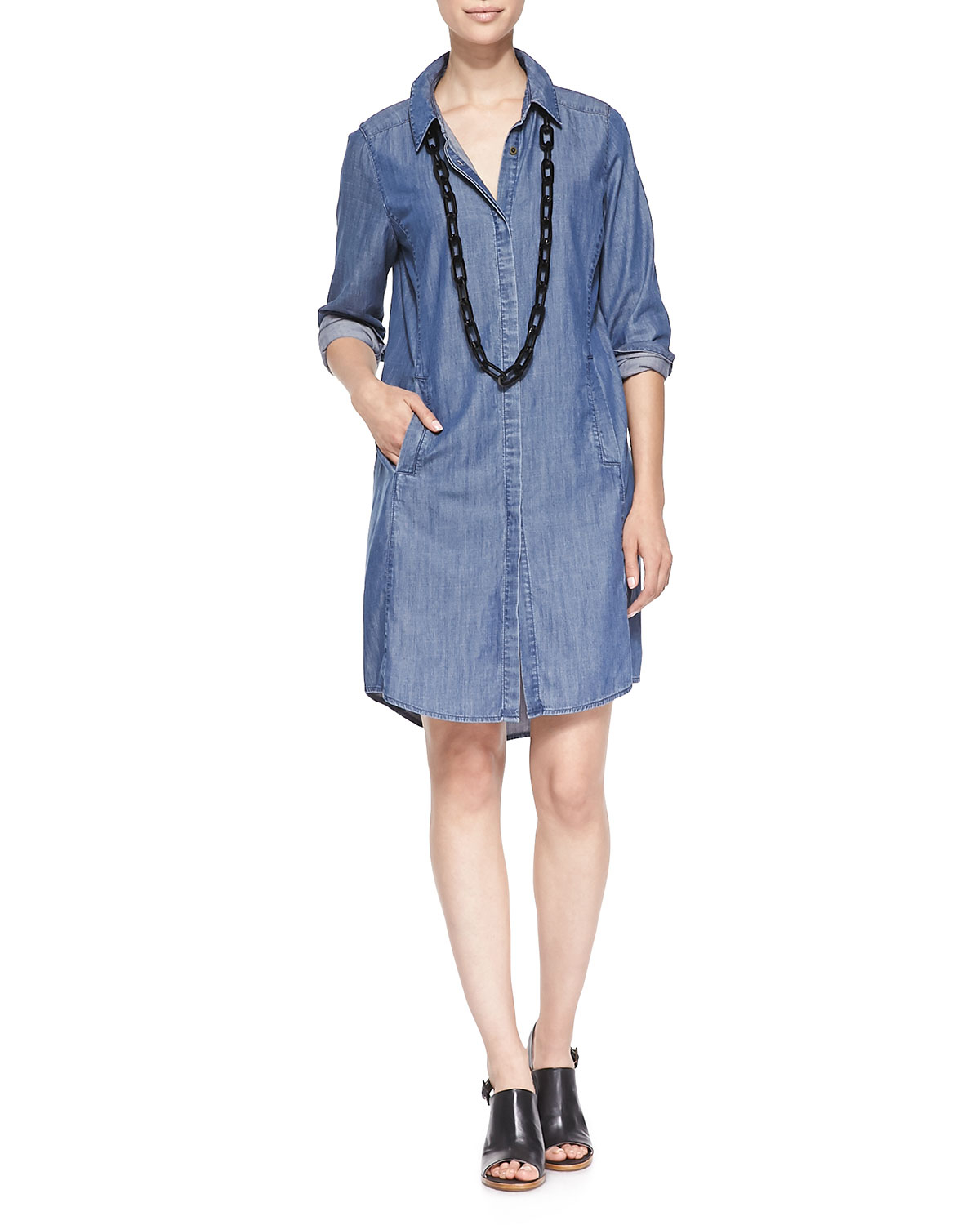 Eileen Fisher Denim Long Sleeve Dress With Pockets In Blue