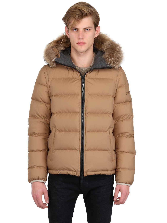 Burberry Brit Fur Trim Detachable Sleeves Down Jacket In